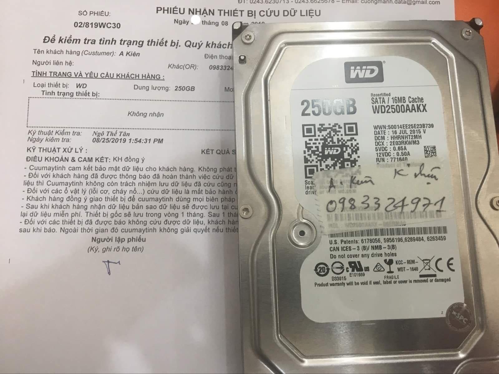 Cứu dữ liệu ổ cứng Western 250GB không nhận 31/08/2019 - cuumaytinh