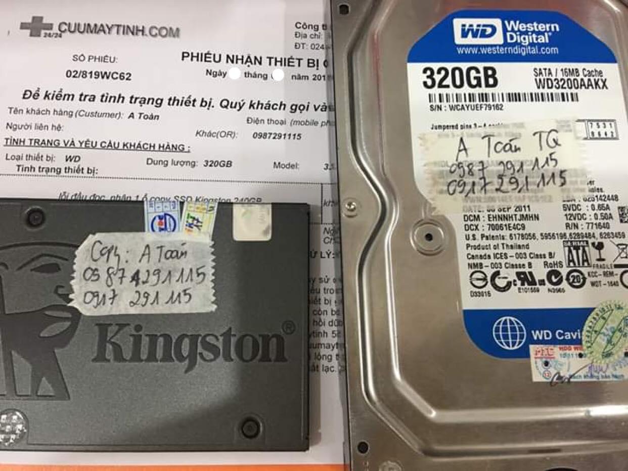 Cứu dữ liệu ổ cứng Western 320GB không nhận 06/09/2019 - cuumaytinh