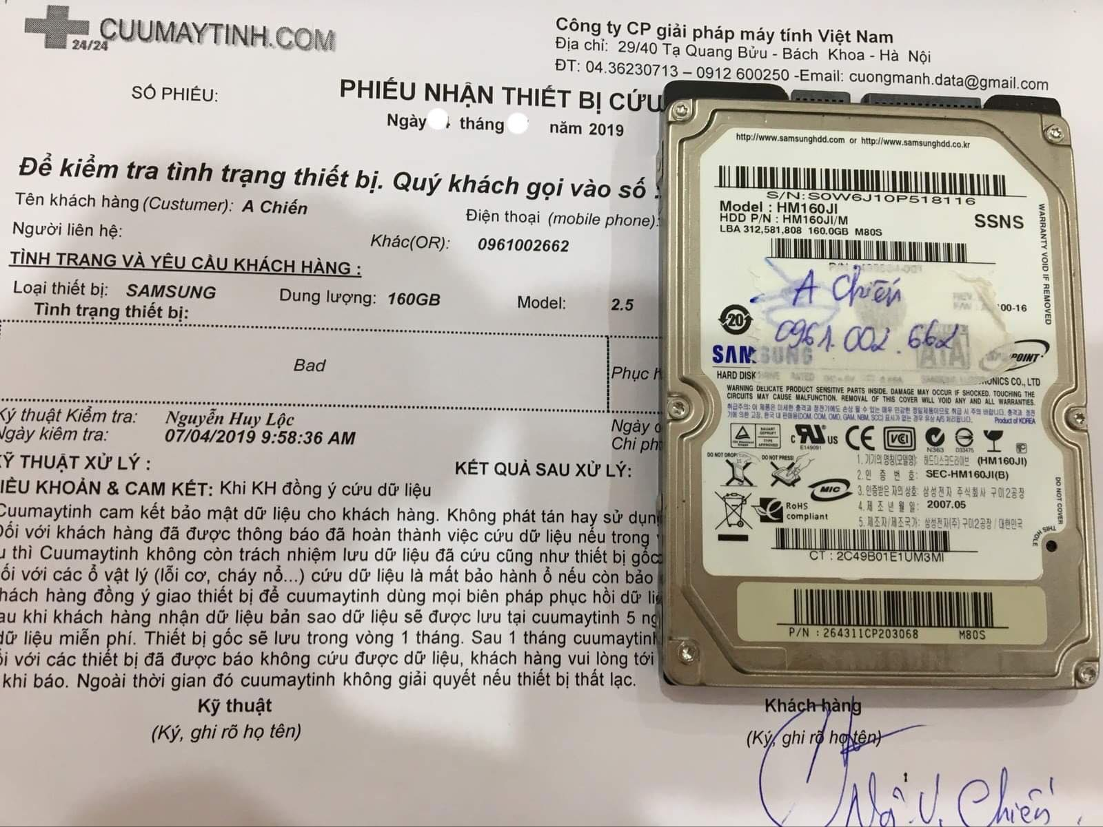 Cứu dữ liệu ổ cứng Samsung 160GB bad 14/09/2019 - cuumaytinh
