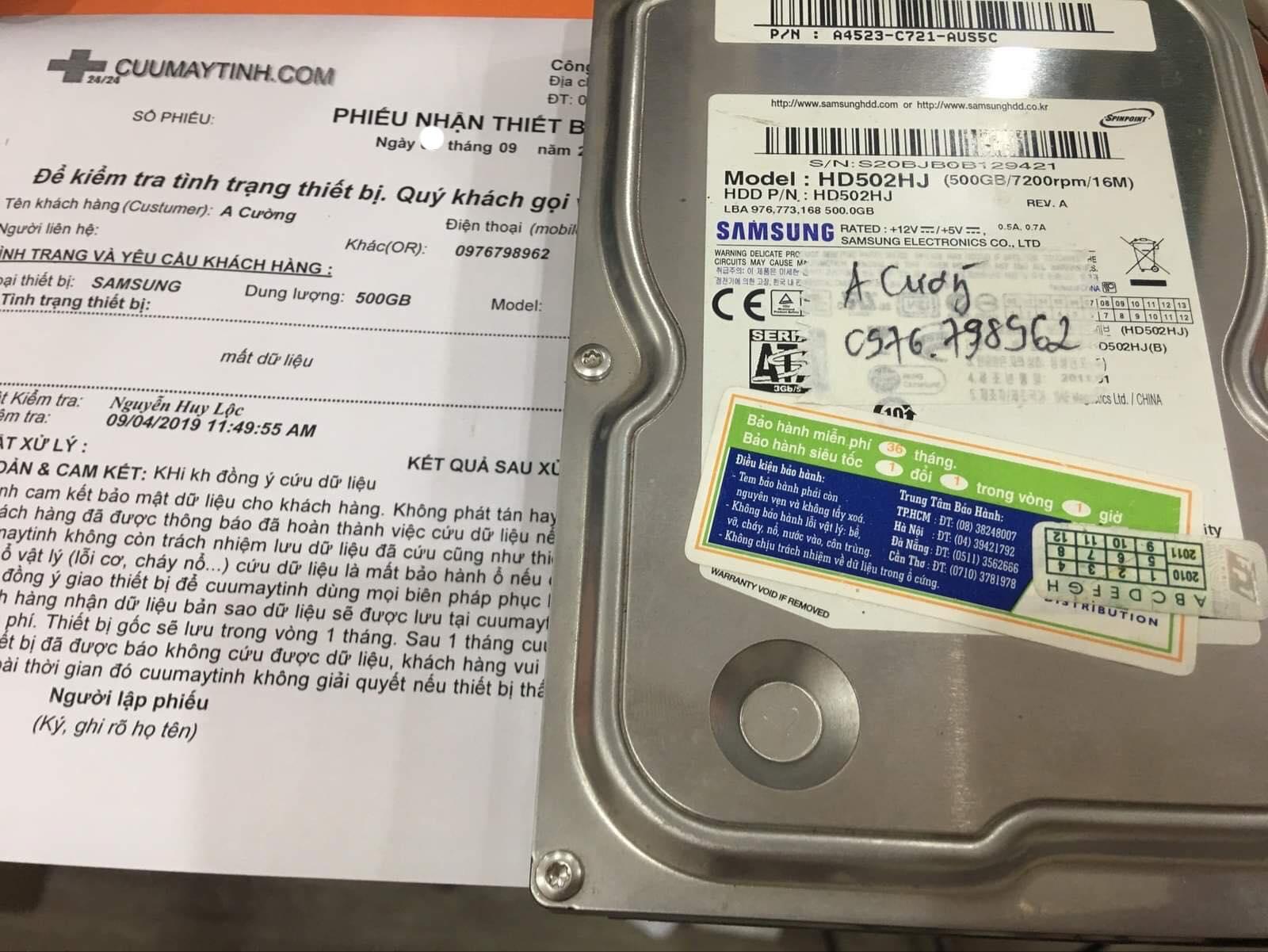 Cứu dữ liệu ổ cứng Samsung 500GB mất dữ liệu 09/09/2019 - cuumaytinh