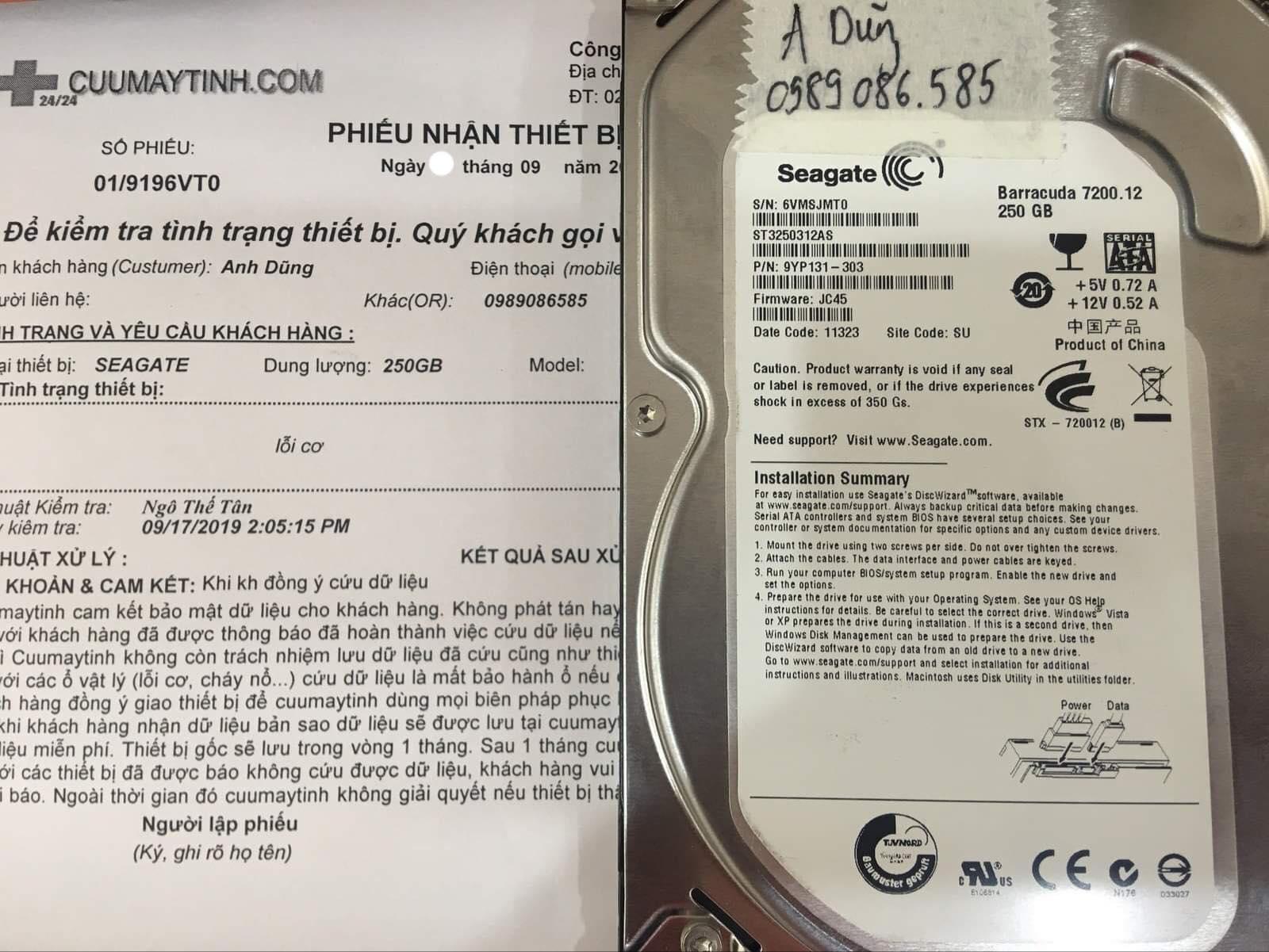 Khôi phục dữ liệu ổ cứng Seagate 250GB lỗi cơ 21/09/2019 -cuumaytinh