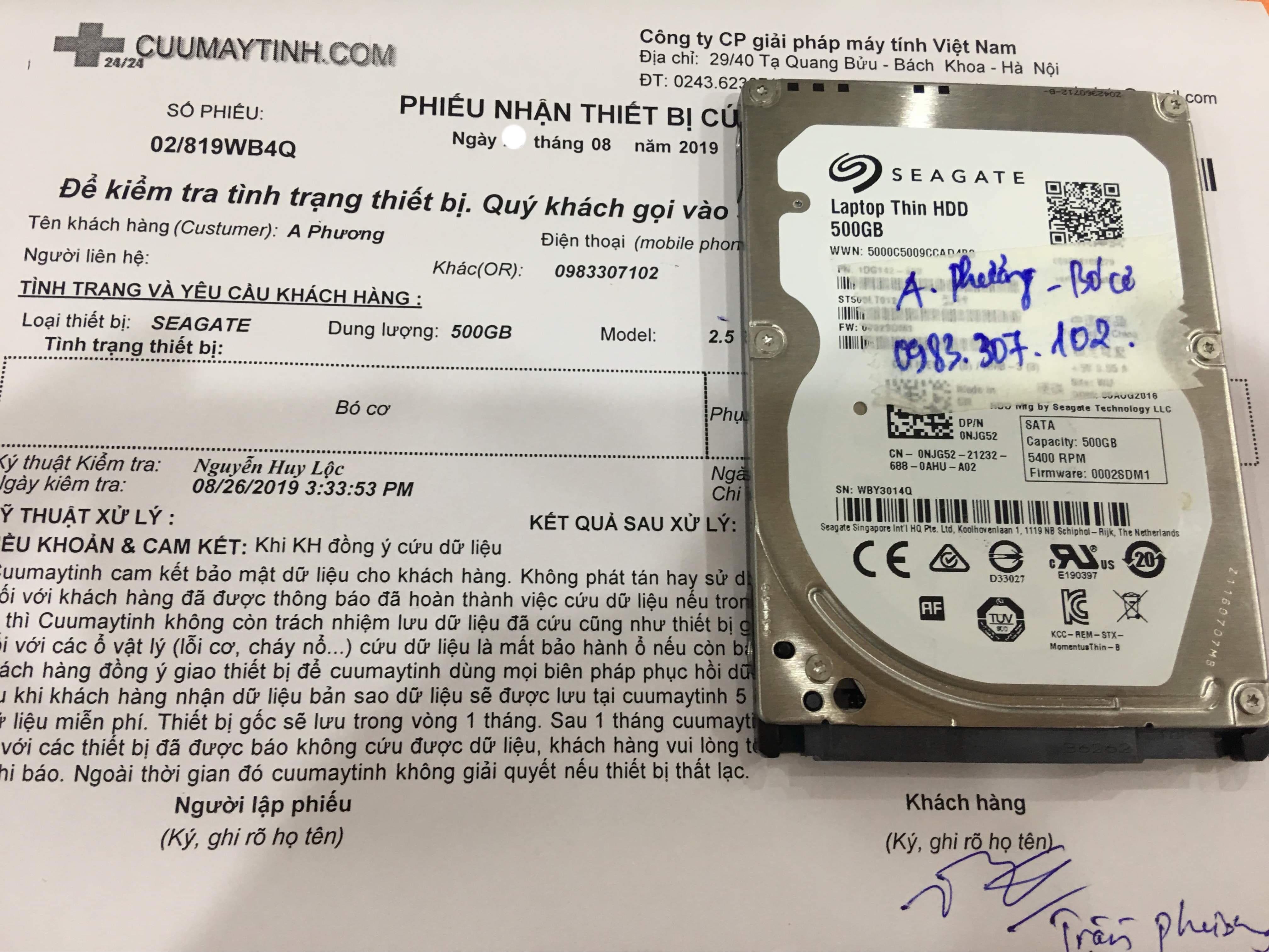 Khôi phục dữ liệu ổ cứng Seagate 500GB bó cơ 03/09/2019 - cuumaytinh