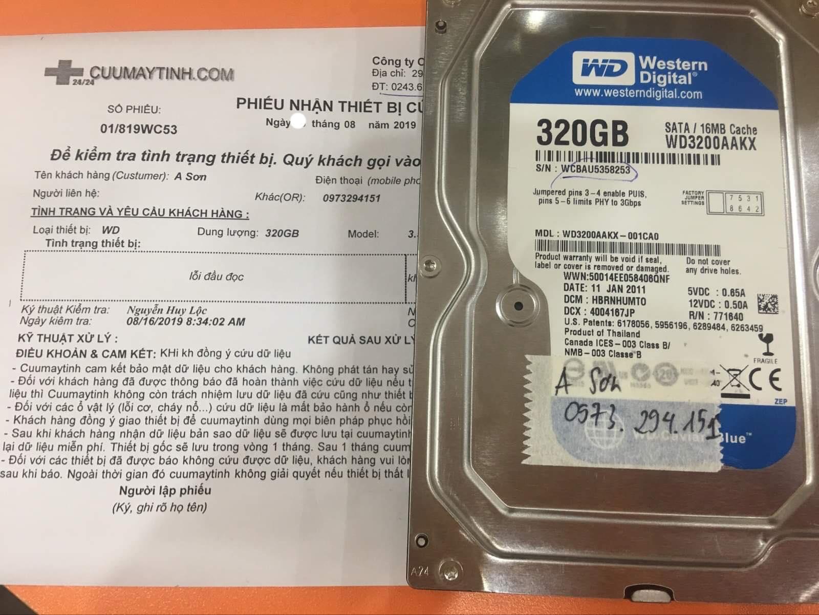 Khôi phục dữ liệu ổ cứng Western 320GB lỗi đầu đọc 31/08/2019 - cuumaytinh