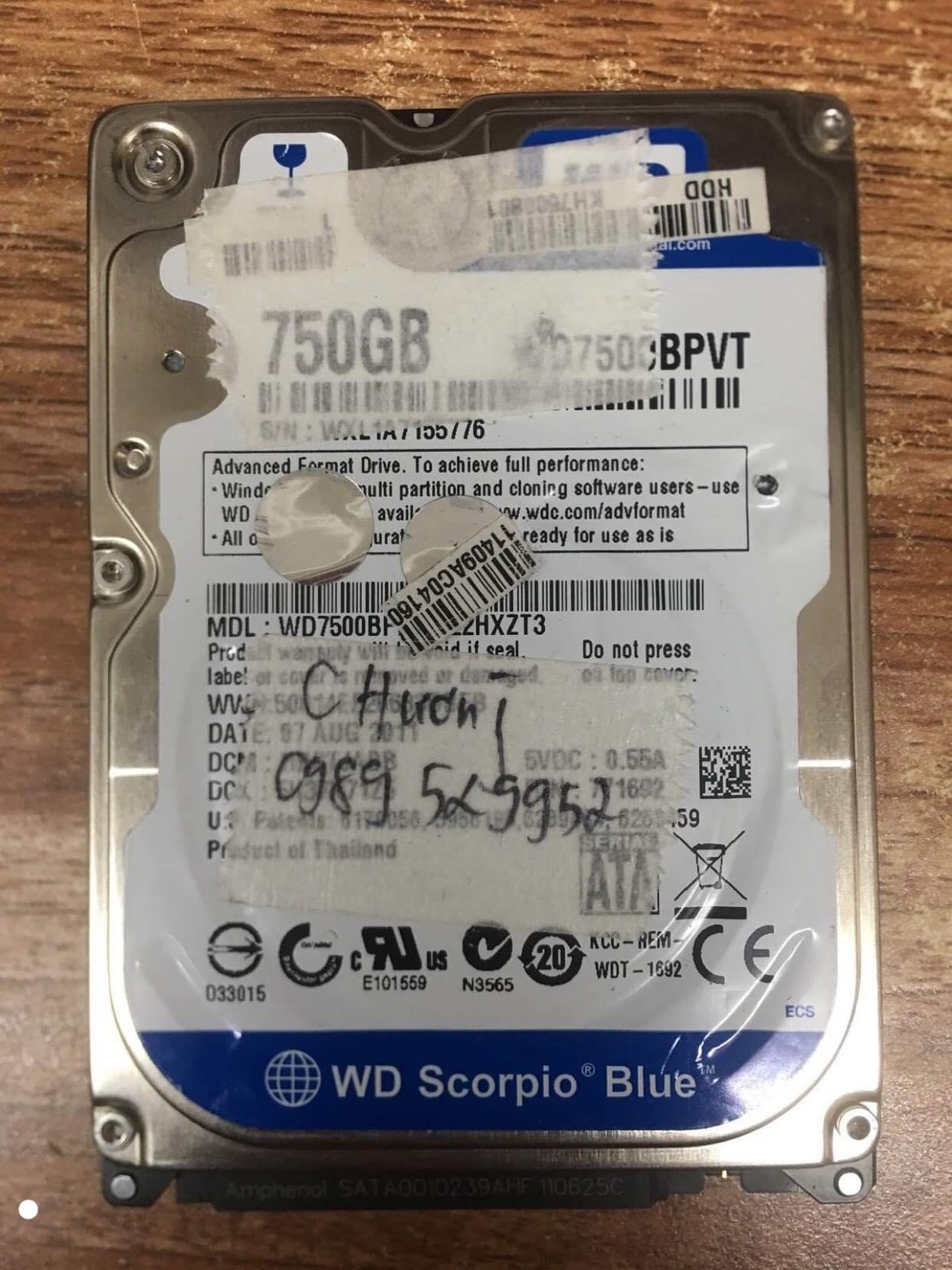 Khôi phục dữ liệu ổ cứng Western 750GB lỗi đầu đọc 19/09/2019 - cuumaytinh