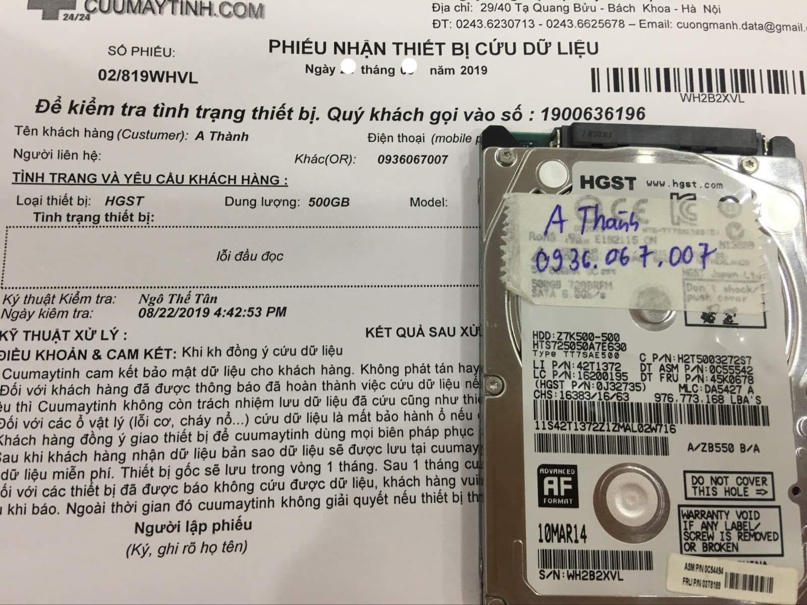 Lấy dữ liệu ổ cứng HGST 500GB lỗi đầu đọc 13/09/2019  - cuuamytinh