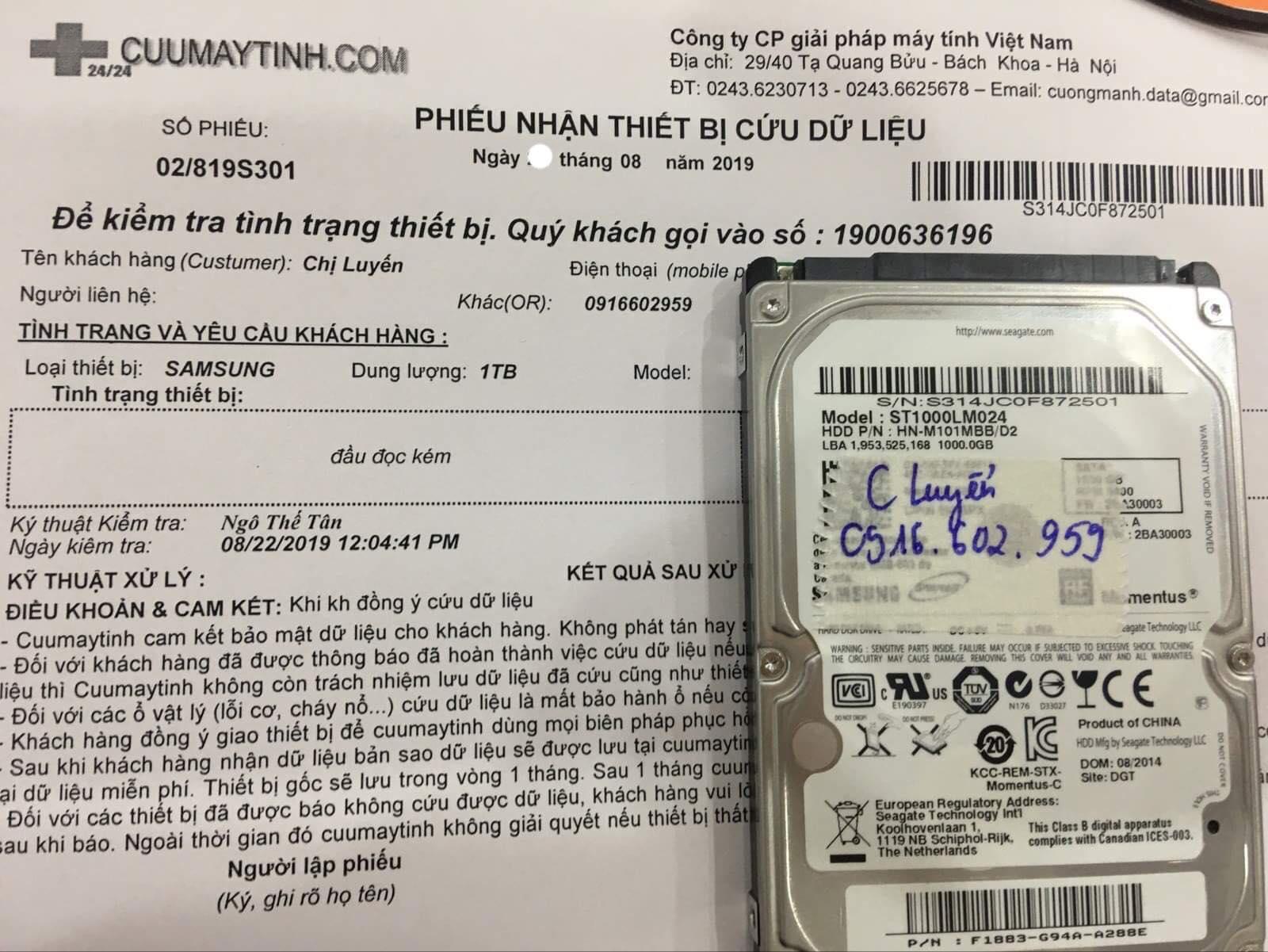 Lấy dữ liệu ổ cứng Samsung 1TB đầu đọc kém 29/08/2019 - cuumaytinh