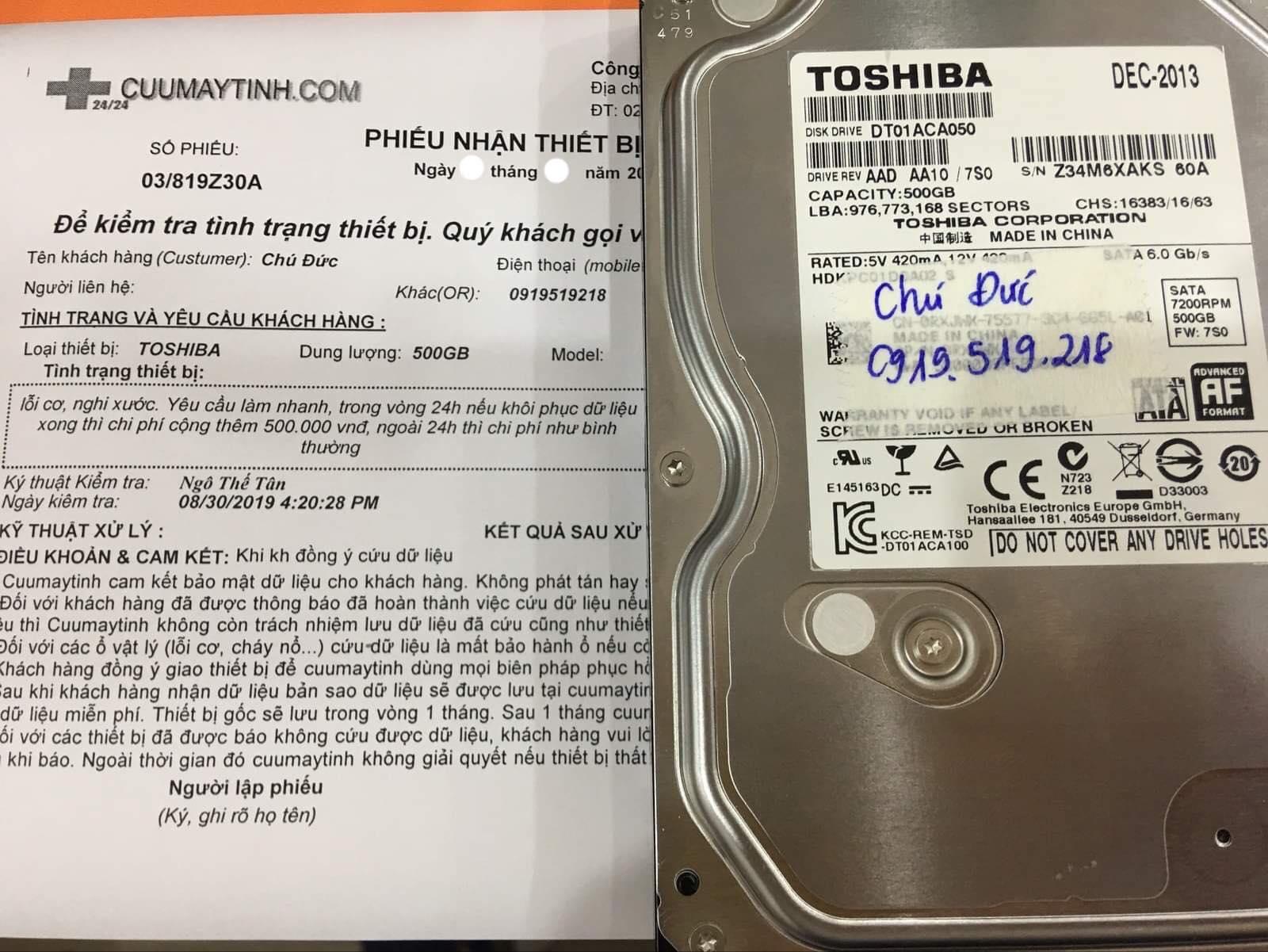 Lấy dữ liệu ổ cứng Toshiba 500GB lỗi cơ 04/09/2019 - cuumaytinh