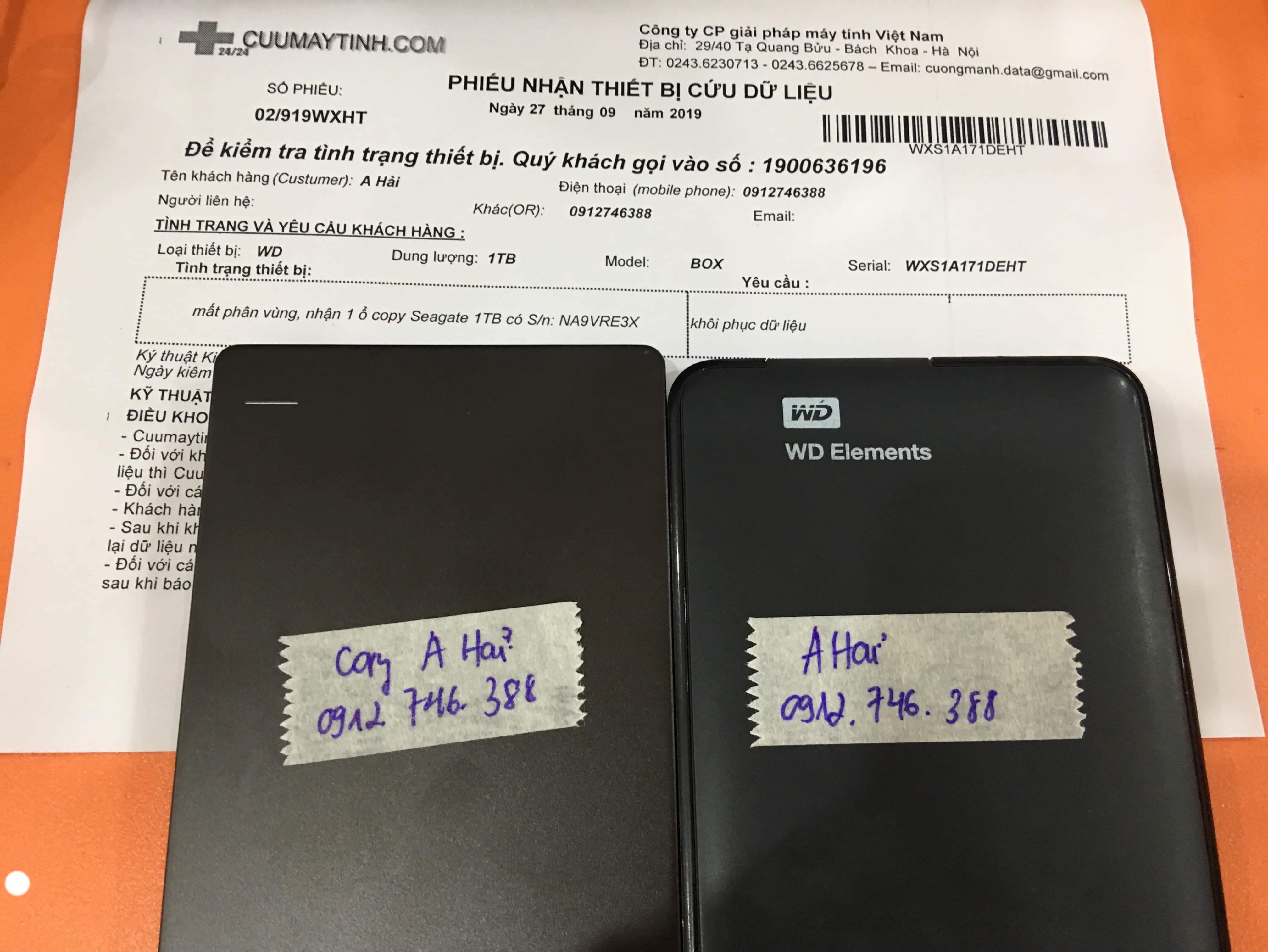 Lấy dữ liệu ổ cứng Western 1TB mất định dạng 27/09/2019 - cuumaytinh