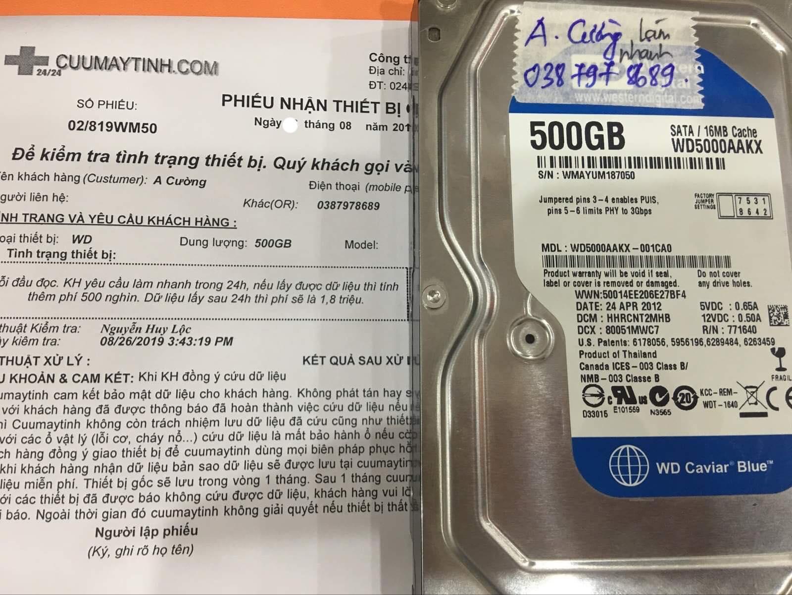 Lấy dữ liệu ổ cứng Western 500GB lỗi đầu đọc 03/09/2019 - cuumaytinh