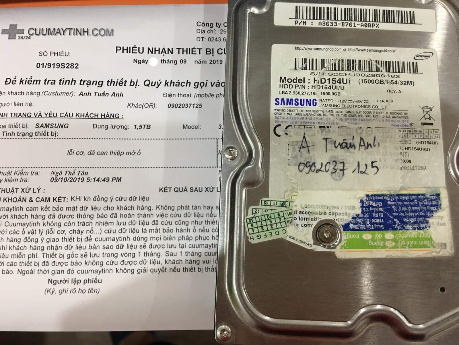 Lấy dữ liệu ổ cứng Samsung 1.5TB lỗi cơ 18/09/2019 - cuumaytinh