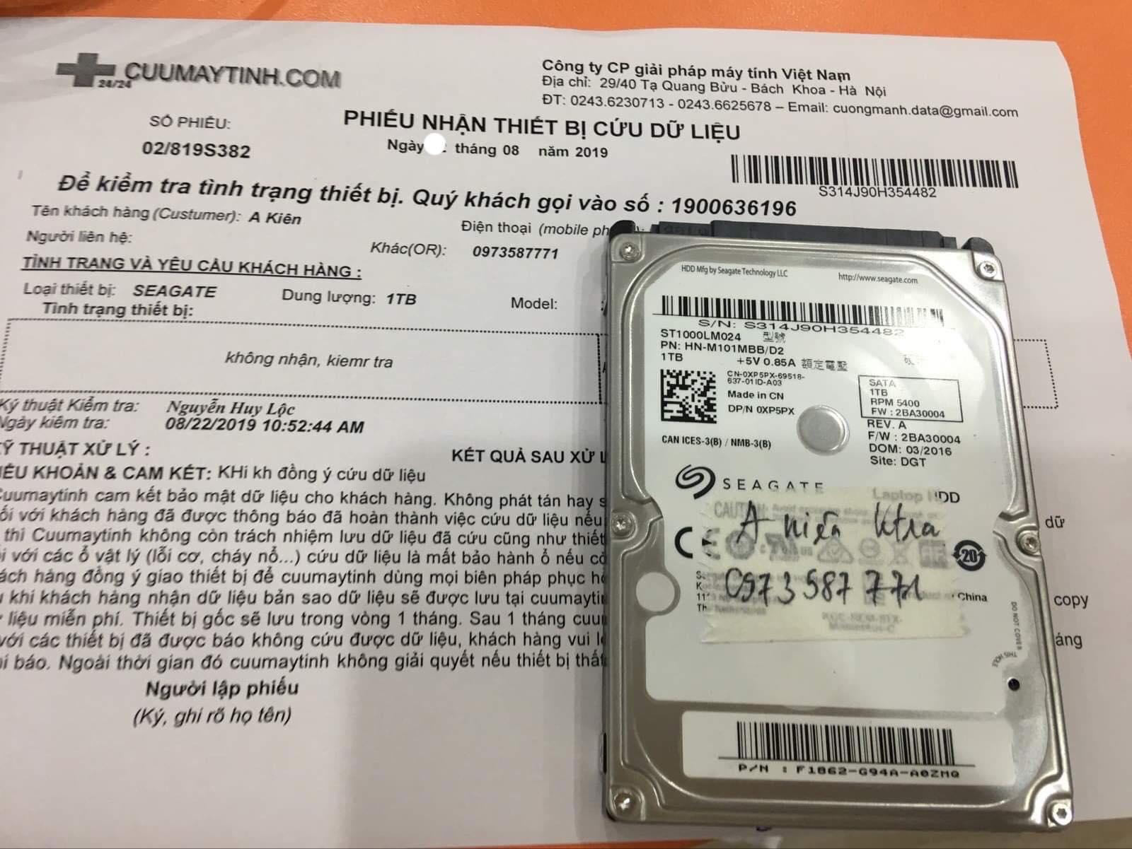 Lấy dữ liệu ổ cứng Seagate 1TB bó cơ 30/08/2019 - cuumaytinh