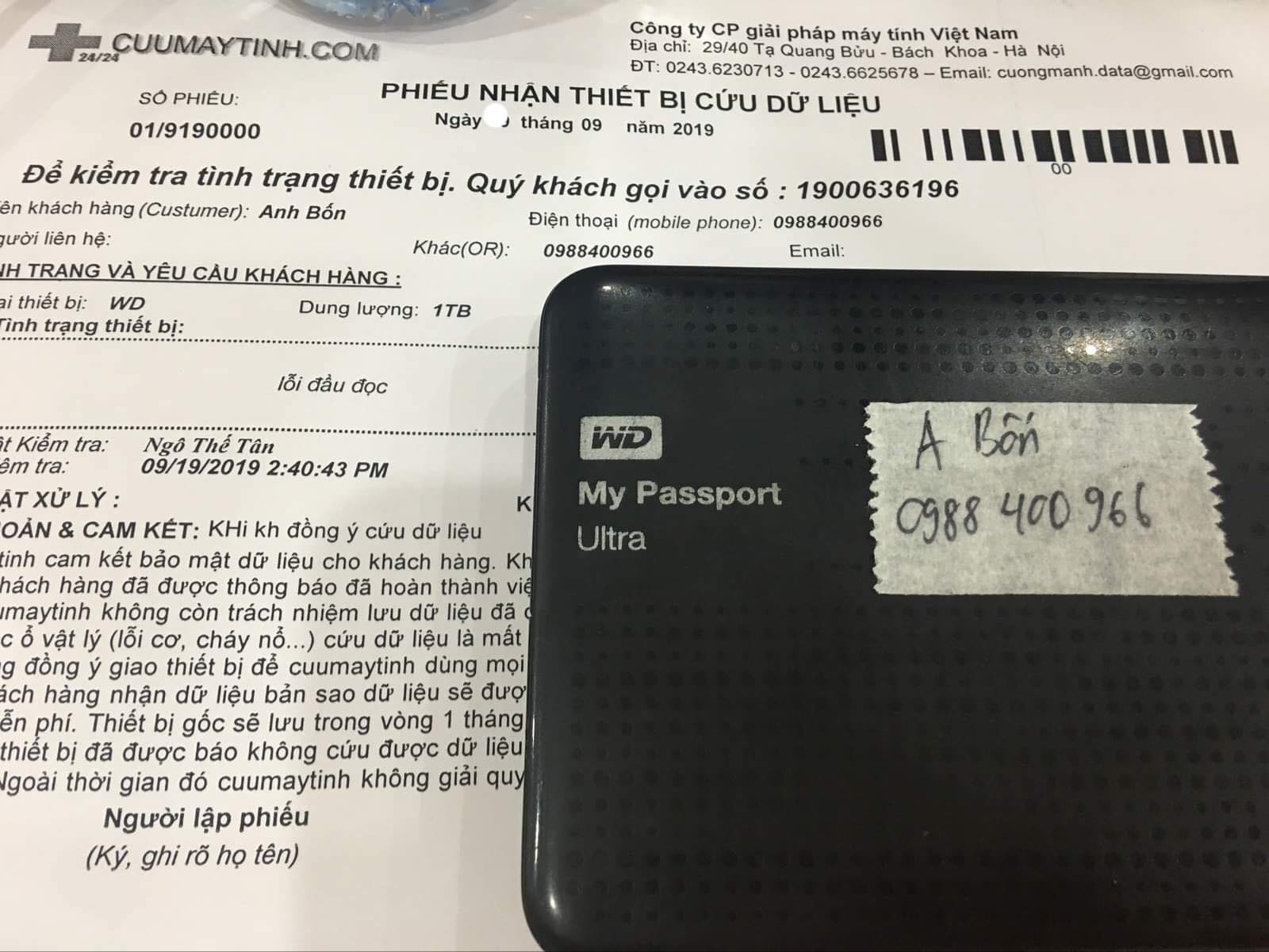 Lấy dữ liệu ổ cứng Western 1TB lỗi đầu đọc 23/09/2019  - cuumaytinh