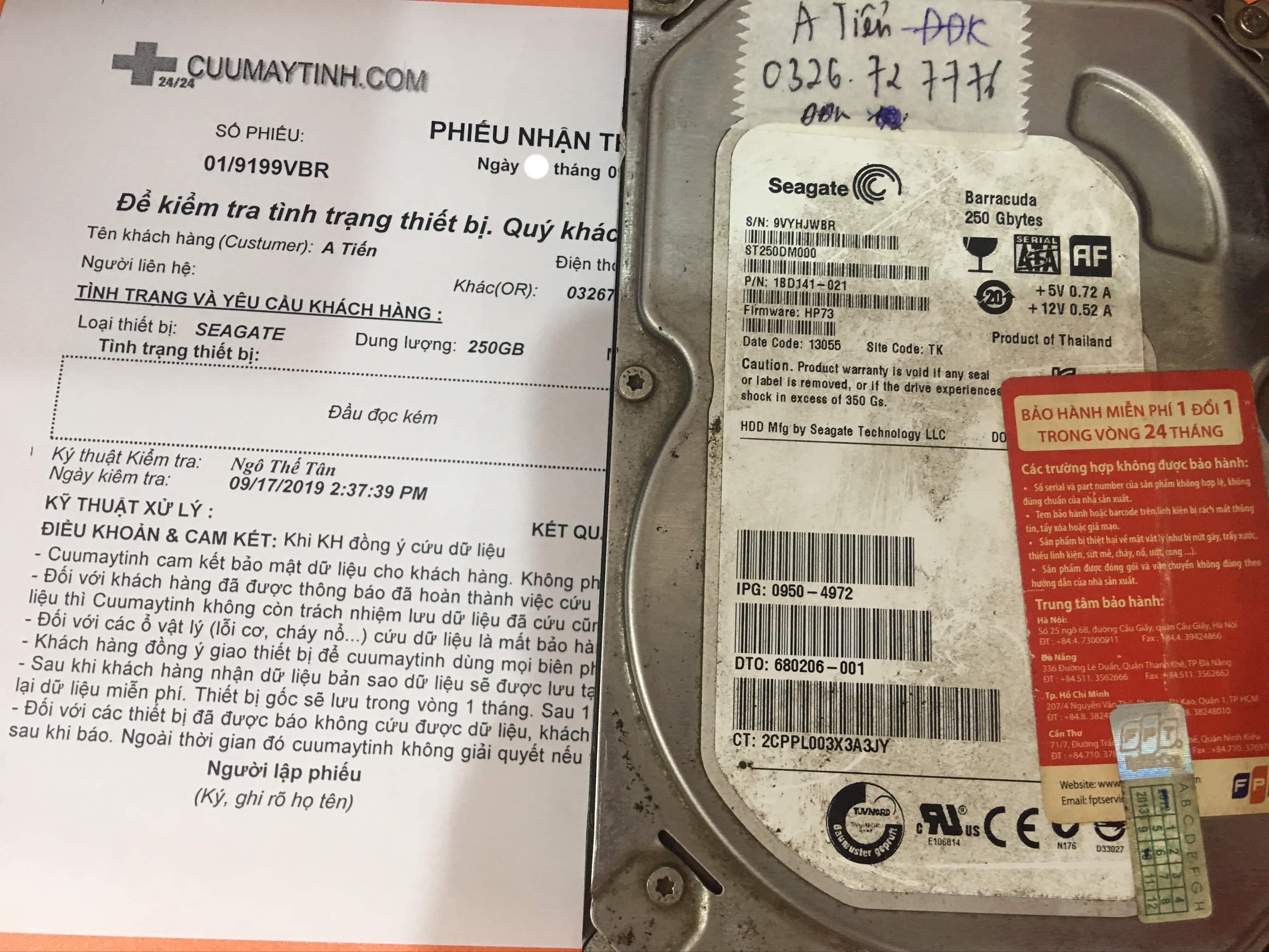 Phục hồi dữ liệu ổ cứng Seagate 250GB đầu đọc kém 21/09/2019 - cuumaytinh