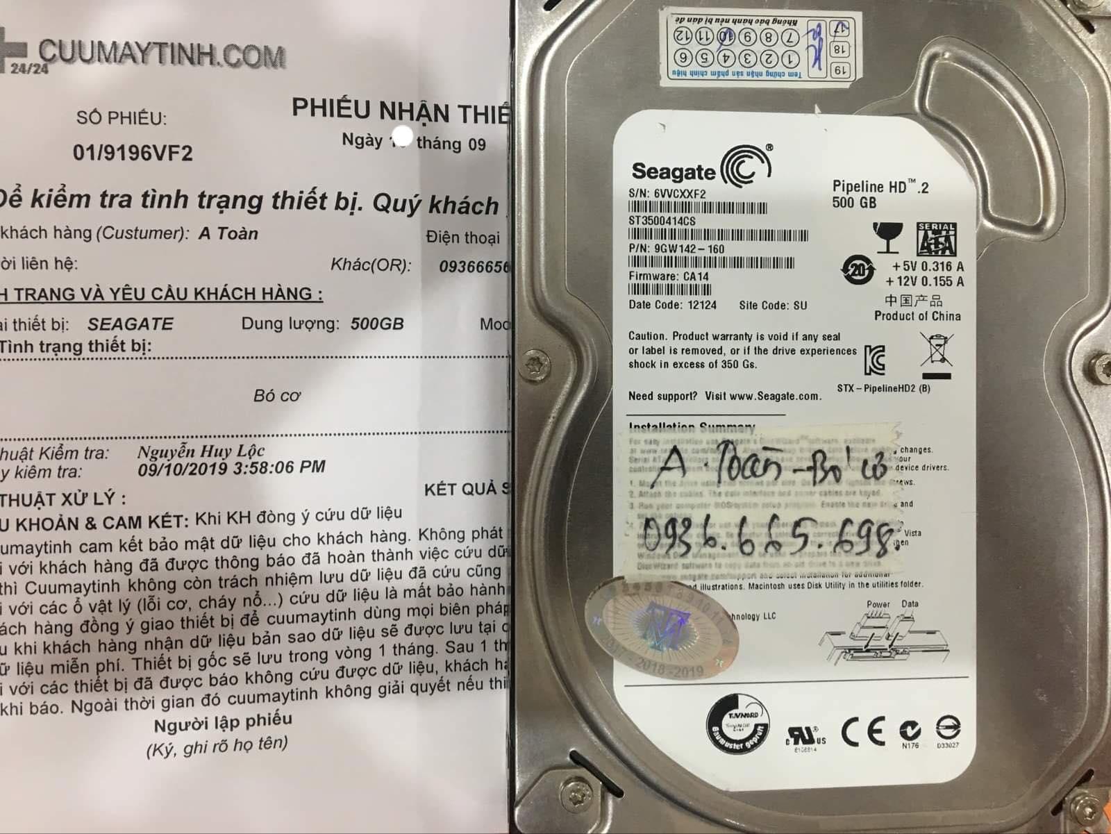 Phục hồi dữ liệu ổ cứng Seagate 500GB bó cơ 17/09/2019 - cuumaytinh