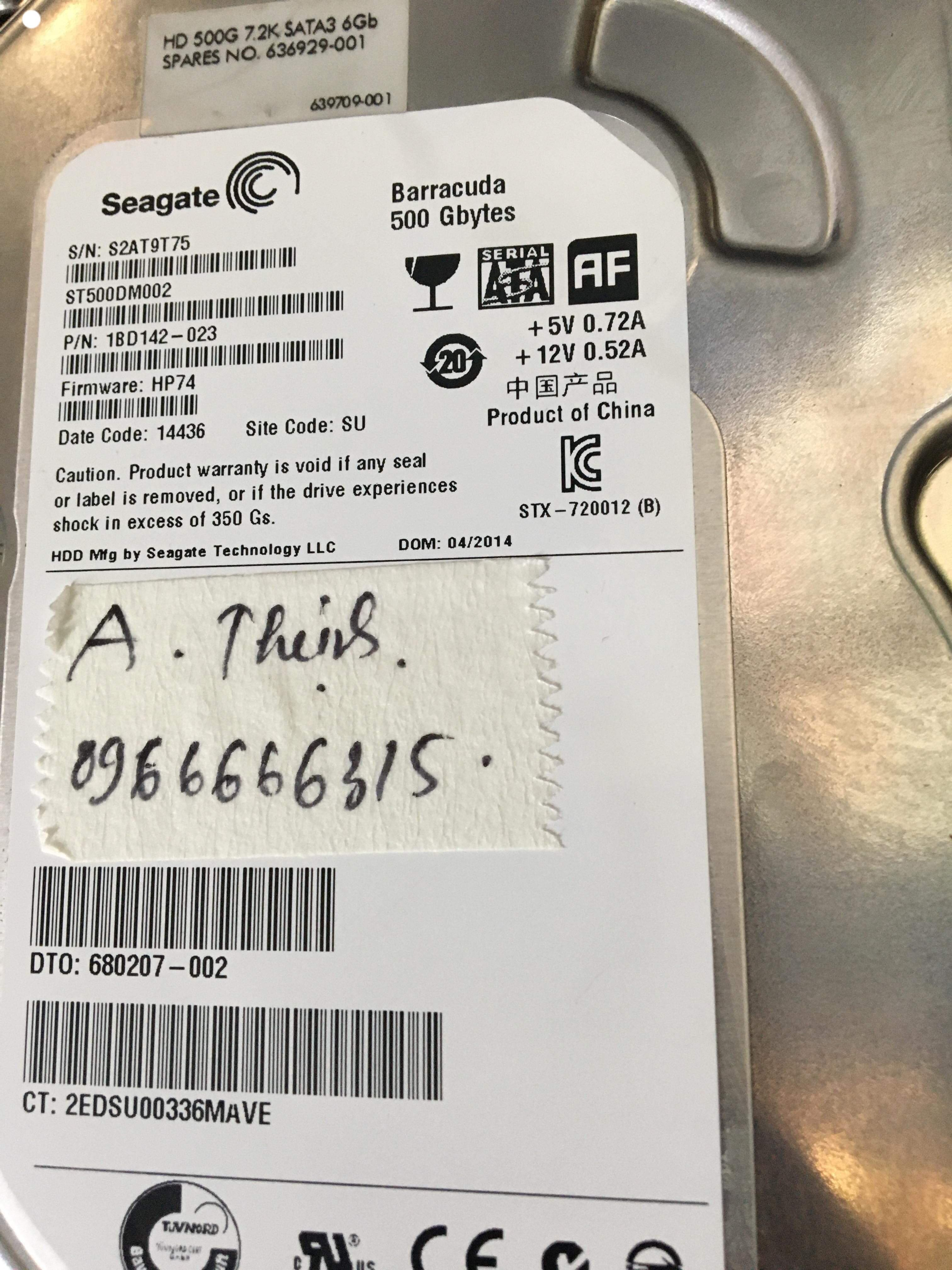 Phục hồi dữ liệu ổ cứng Seagate 500GB lỗi cơ 27/09/2019 - cuumaytinh