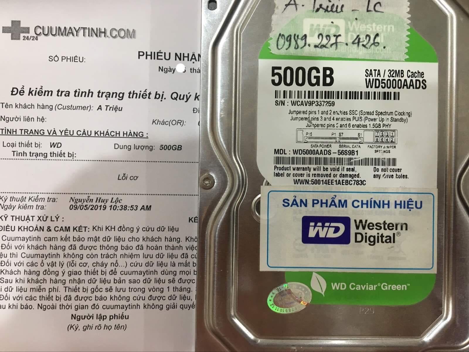 Phục hồi dữ liệu ổ cứng Western 500GB lỗi cơ 09/09/2019 - cuumaytinh