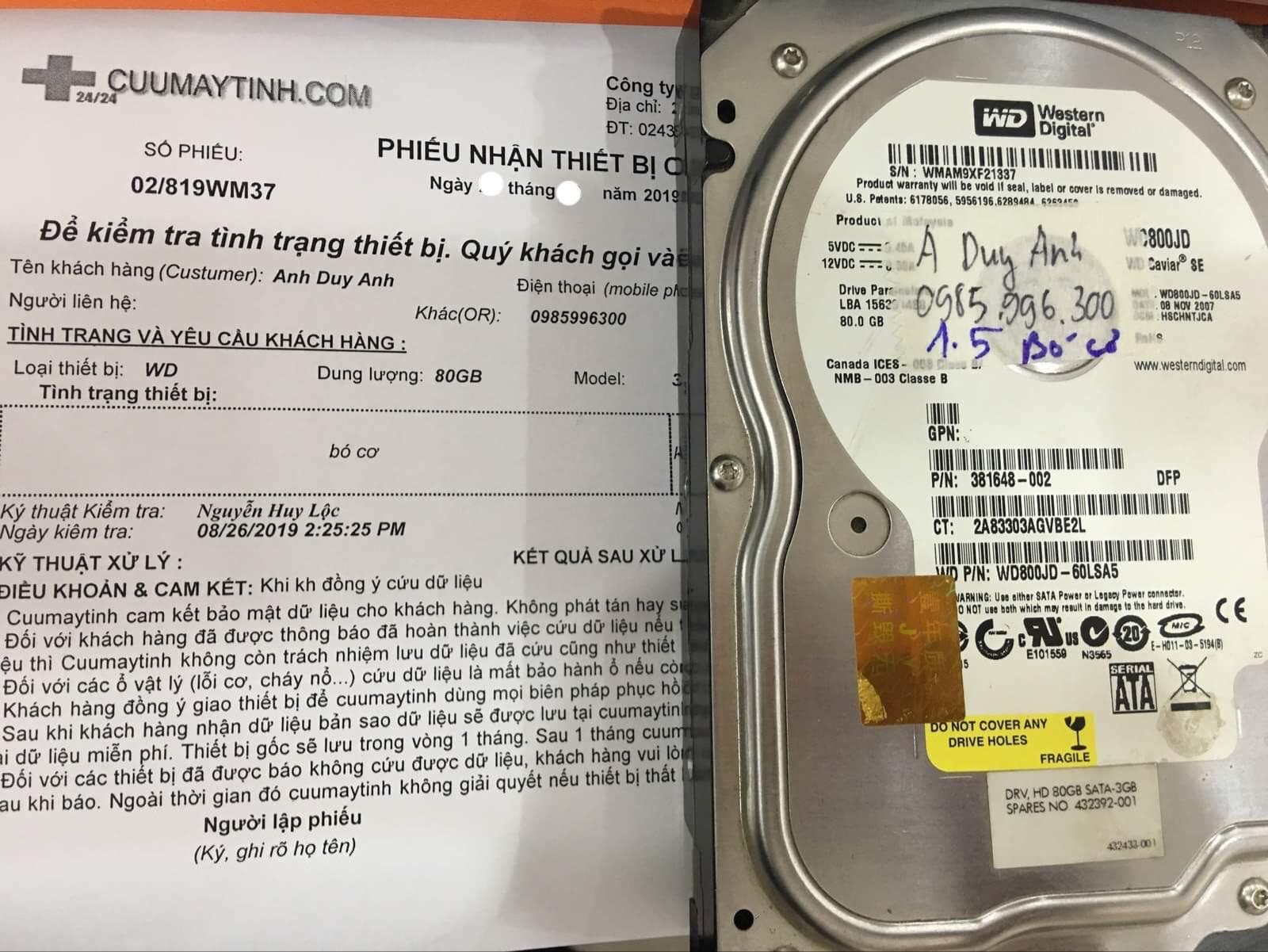 Phục hồi dữ liệu ổ cứng Western 80GB bó cơ 04/09/2019 - cuumaytinh