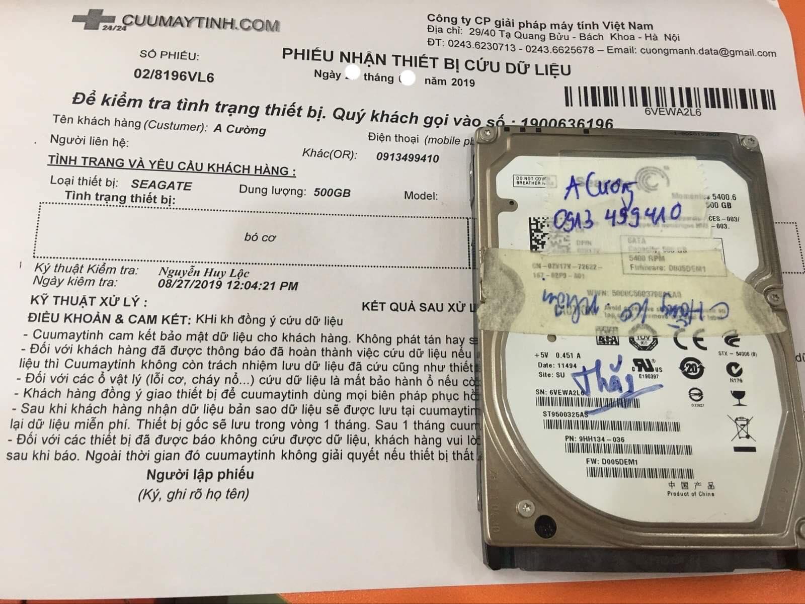 Khôi phục dữ liệu ổ cứng Seagate 500GB bó cơ 28/09/2019 - cuumaytinh