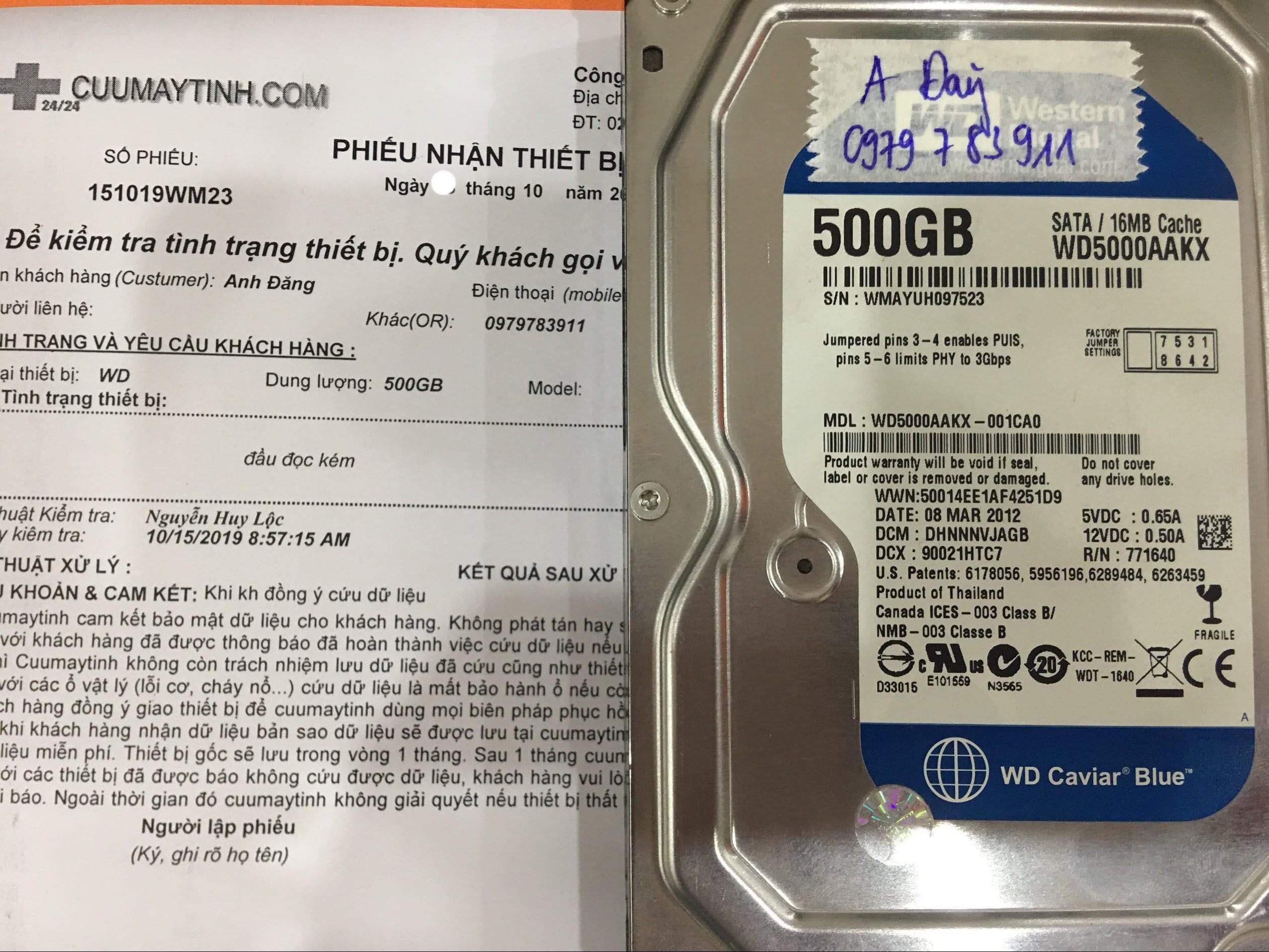 Khôi phục dữ liệu ổ cứng Western 500GB đầu đọc kém 26/10/2019 - cuumaytinh