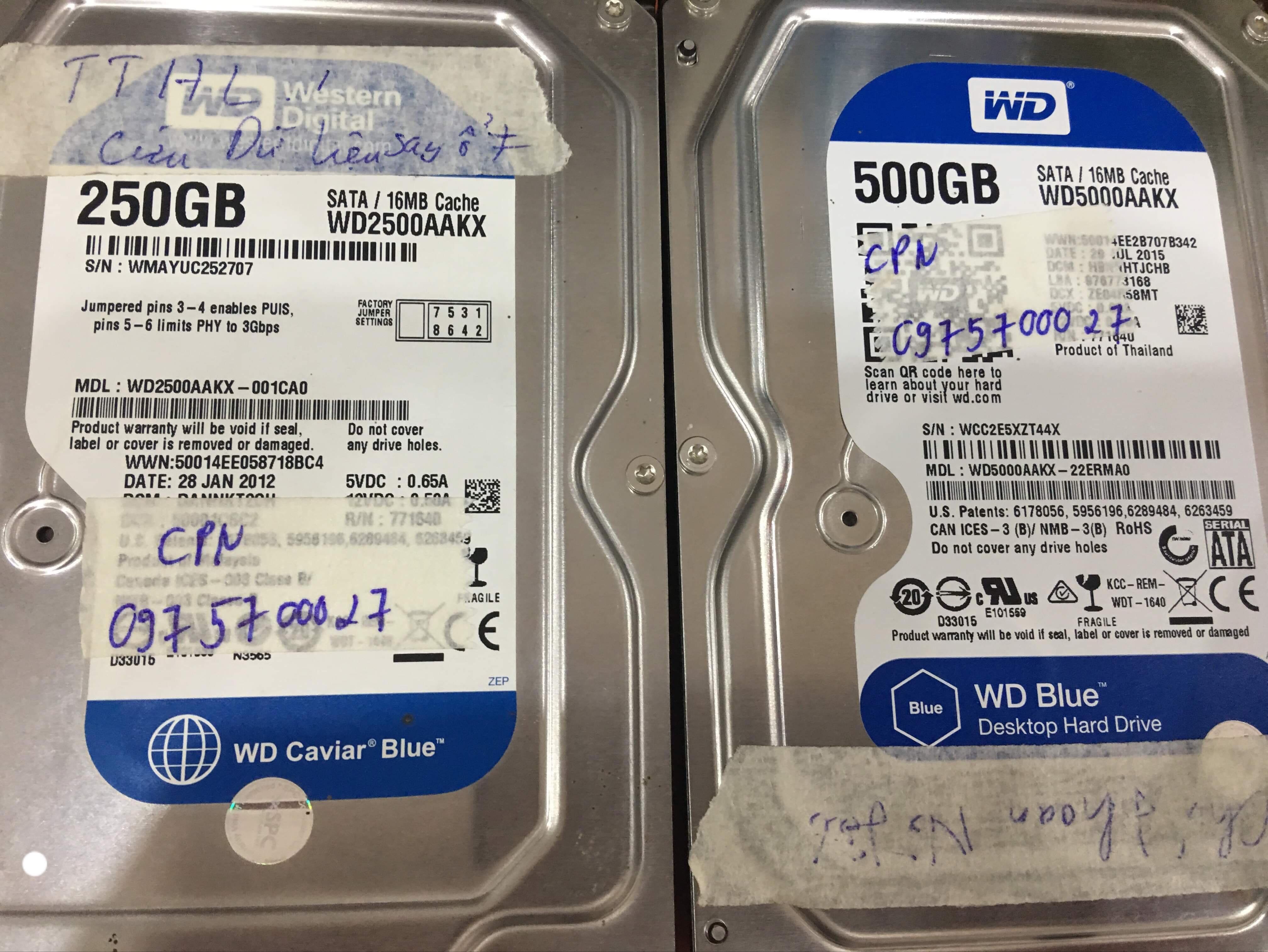Lấy dữ liệu ổ cứng Western 500GB không nhận tại Điện Biên 21/10/2019 - cuumaytinh