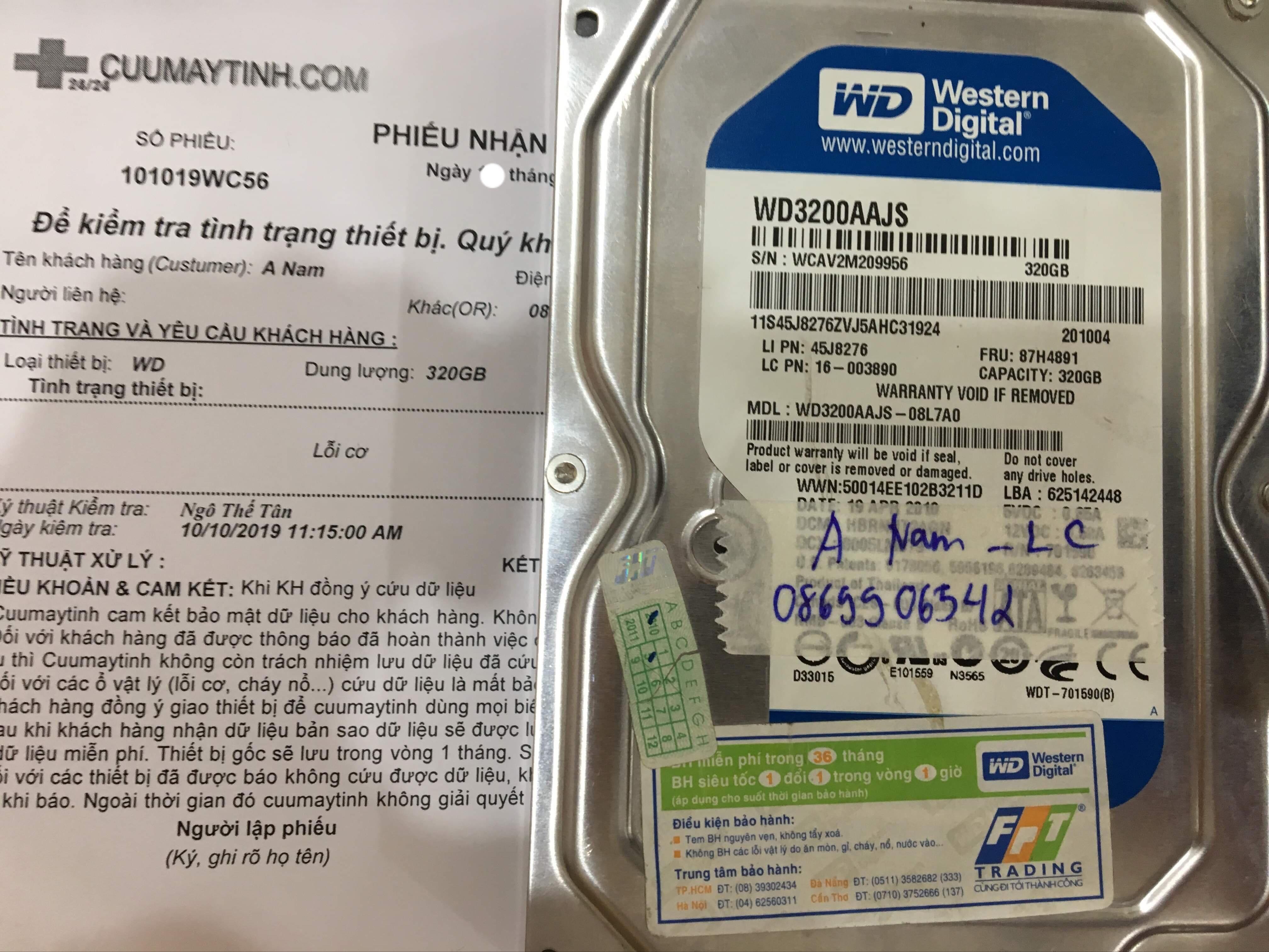 Phục hồi dữ liệu ổ cứng Western 320GB lỗi cơ 19/10/2019 - cuumaytinh