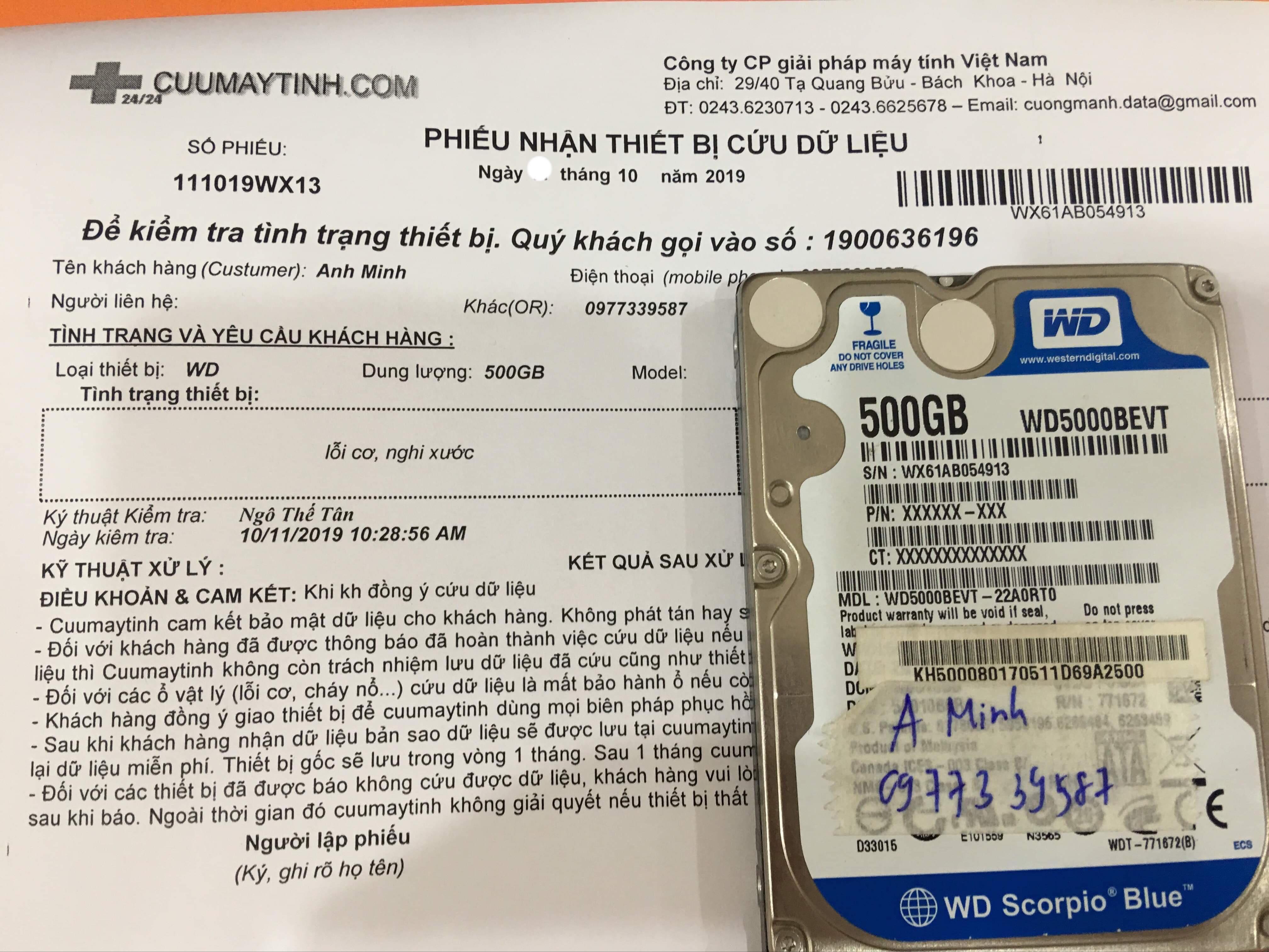 Phục hồi dữ liệu ổ cứng Western 500GB lỗi cơ 21/10/2019 - cuumaytinh
