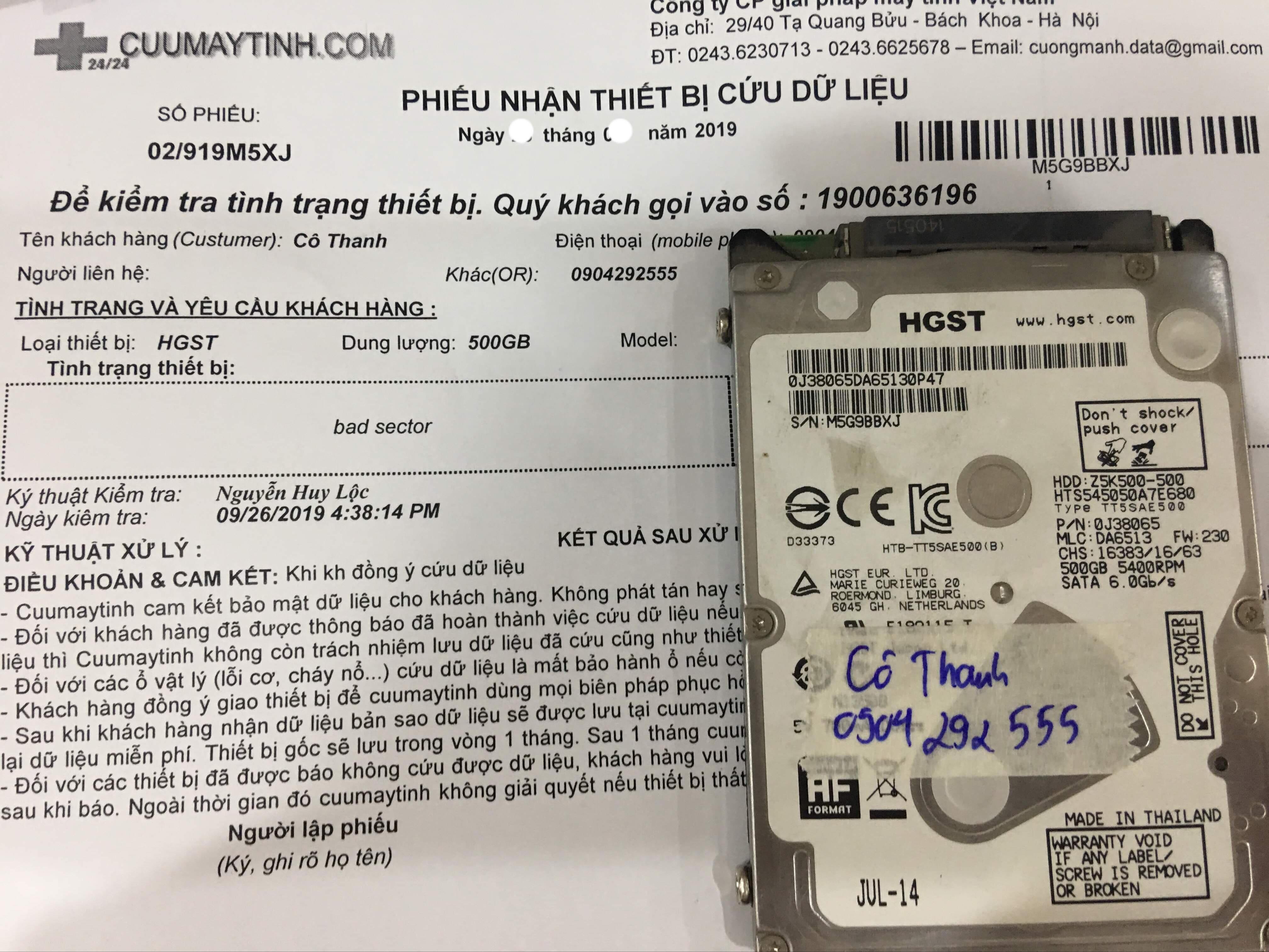 Cứu dữ liệu ổ cứng HGST 500GB bad sector 03/10/2019 - cuumaytinh