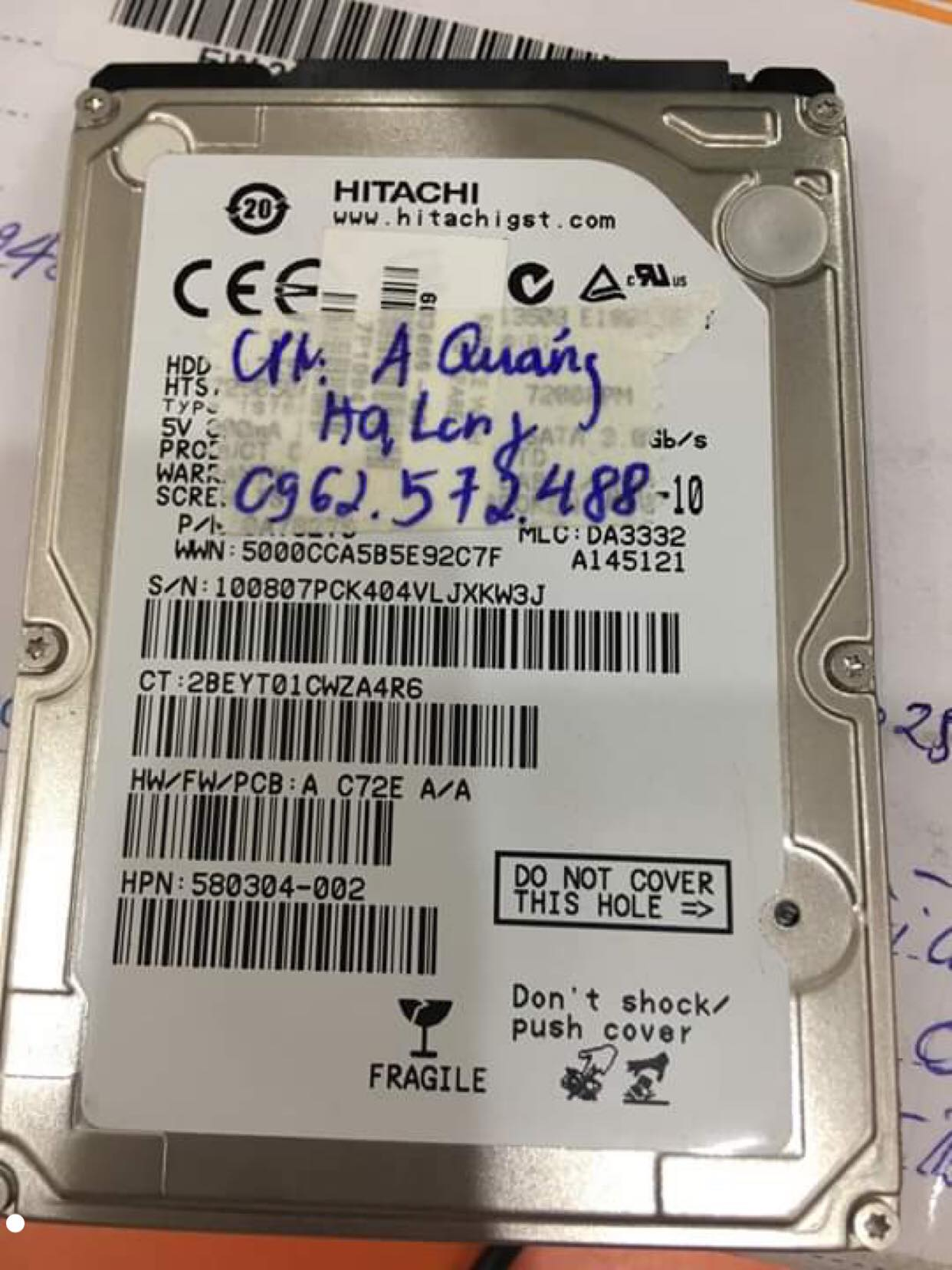 Cứu dữ liệu ổ cứng Hitachi 320GB không nhận tại Quảng Ninh 16/10/2019 - cuumaytinh