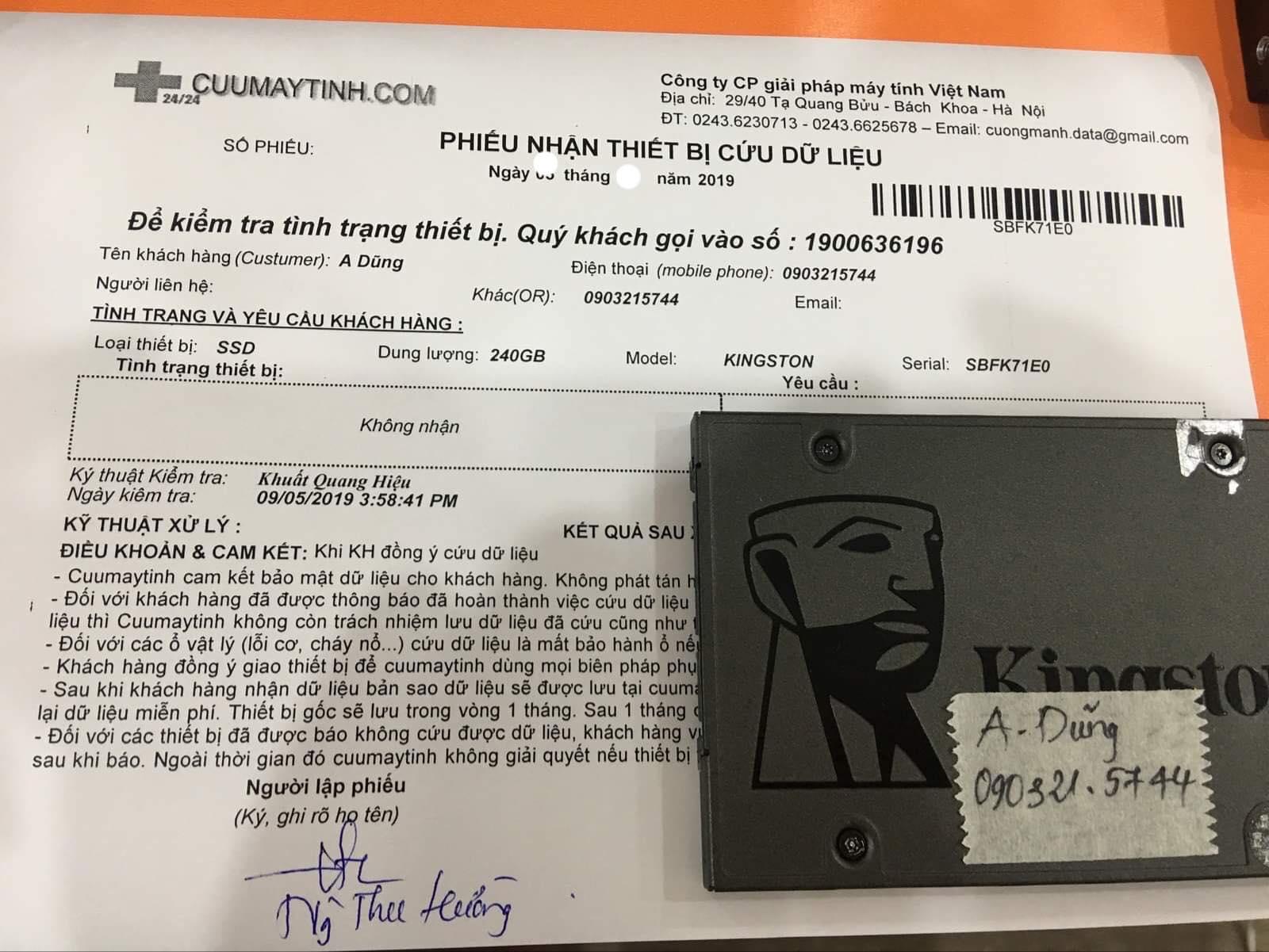 Cứu dữ liệu ổ cứng SSD Kingston 240GB không nhận 21/10/2019 - cuumaytinh