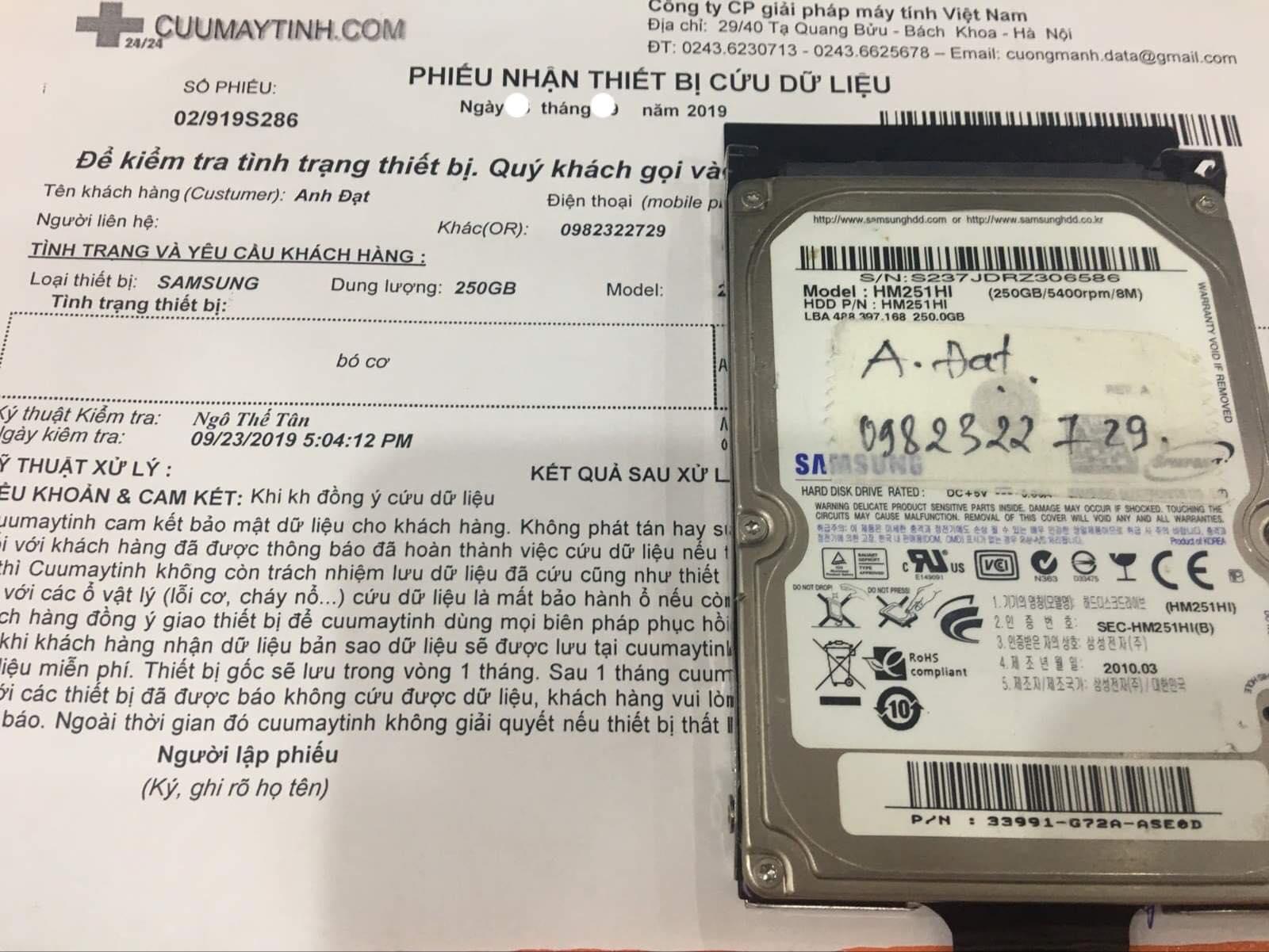 Cứu dữ liệu ổ cứng Samsung 250GB bó cơ 07/10/2019 - cuumaytinh