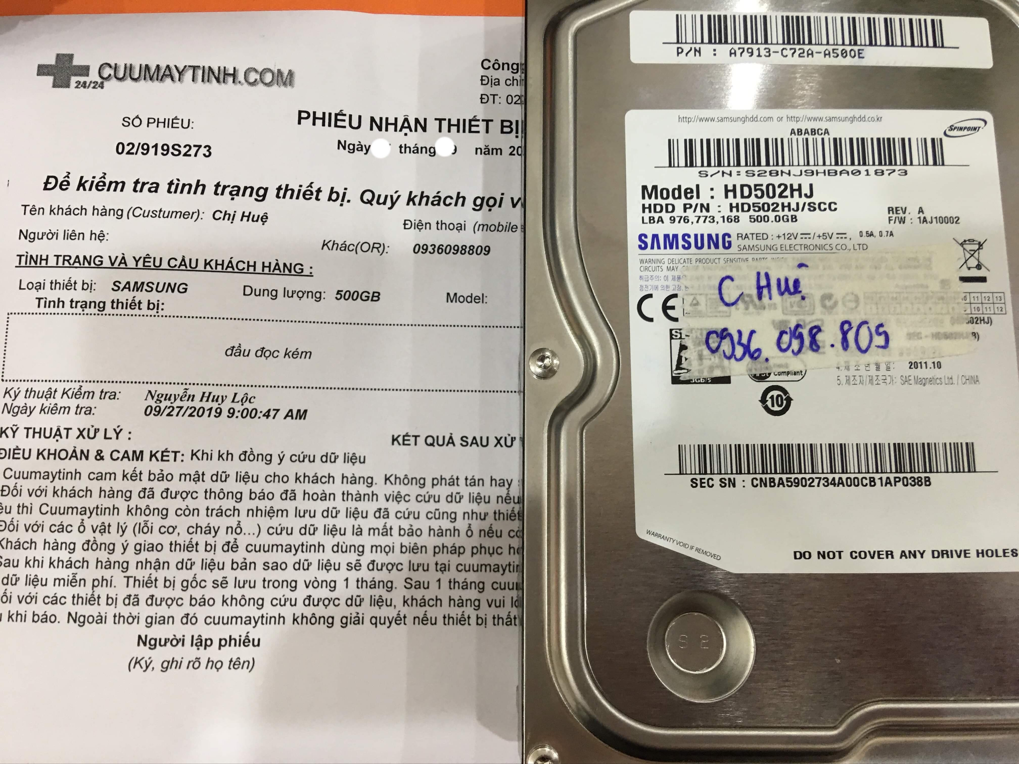 Cứu dữ liệu ổ cứng Samsung 500GB đầu đọc kém 08/10/2019 - cuumaytinh
