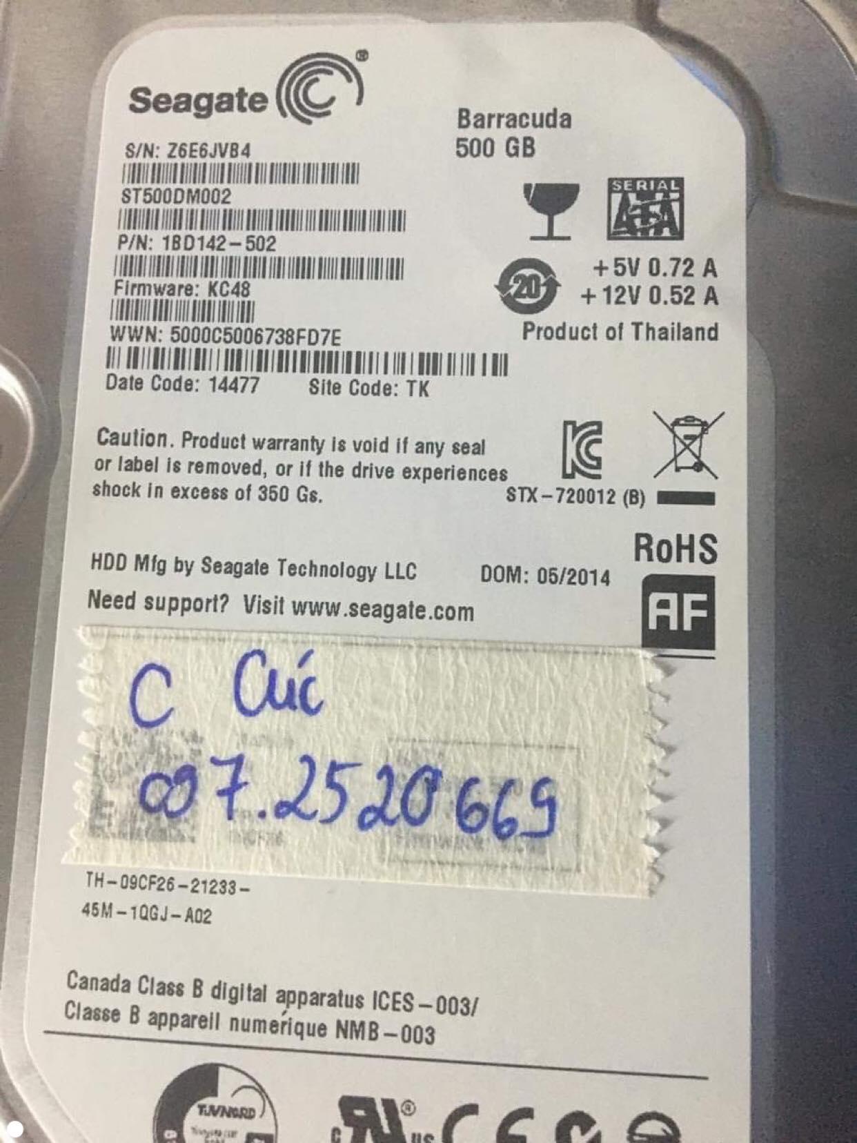 Cứu dữ liệu ổ cứng Seagate 500GB không nhận 11/10/2019 - cuumaytinh