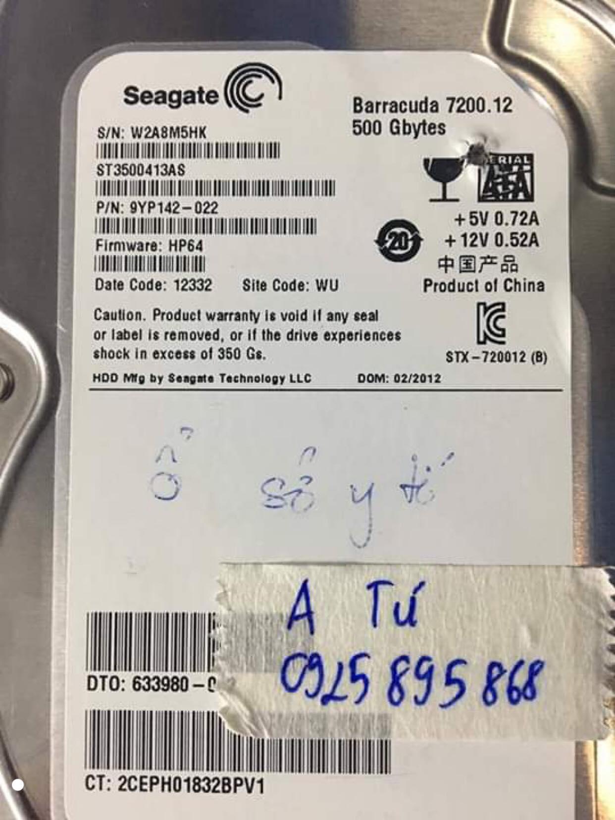 Cứu dữ liệu ổ cứng Seagate 500GB lỗi cơ 26/10/2019 - cuumaytinh