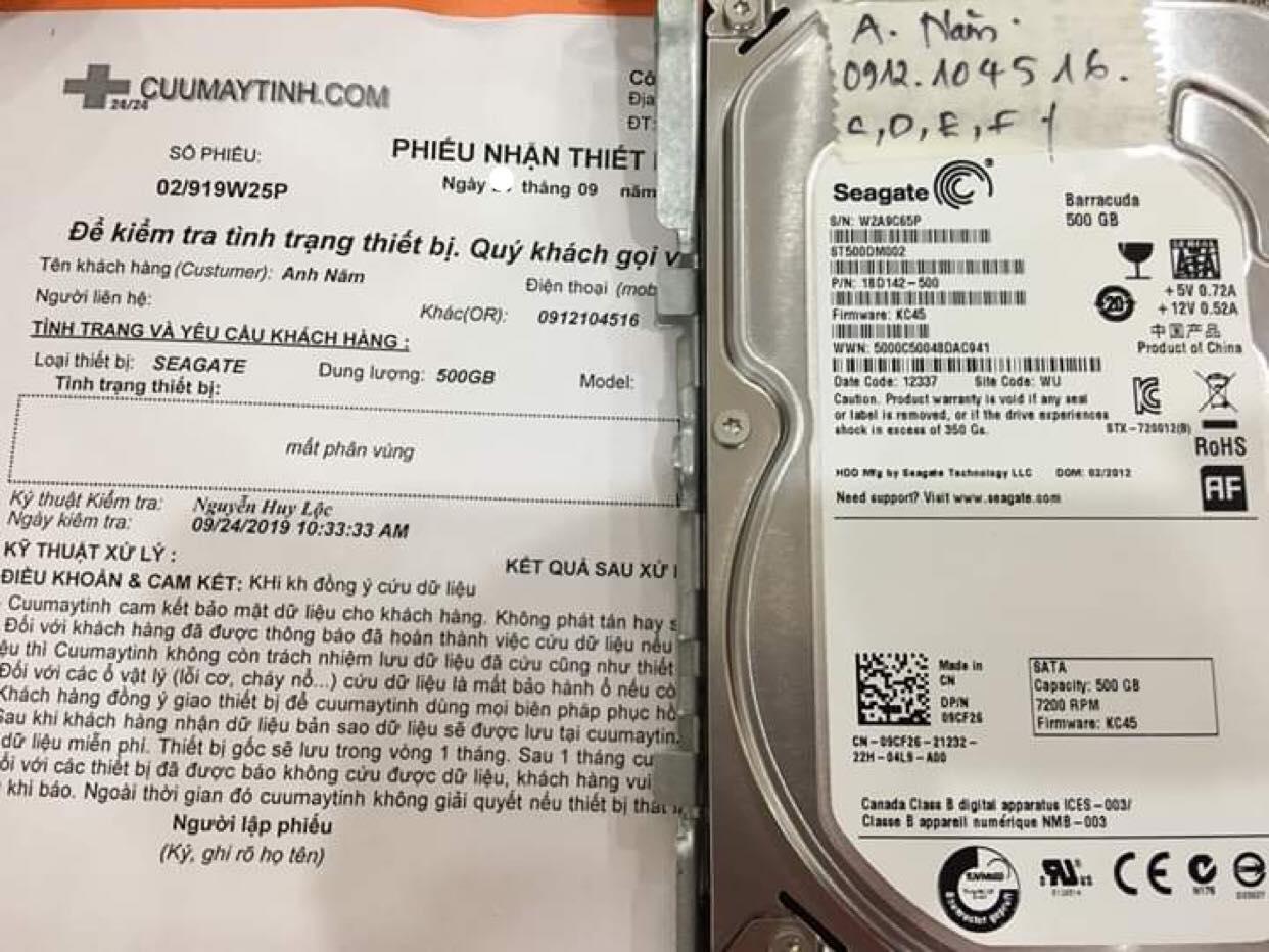 Cứu dữ liệu ổ cứng Seagate 500GB mất phân vùng 28/09/2019 - cuumaytinh