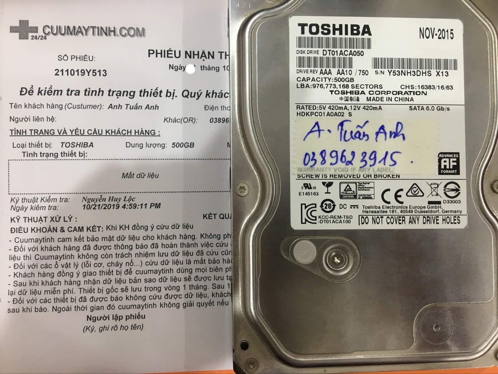 Cứu dữ liệu ổ cứng Toshiba 500GB mất dữ liệu 22/10/2019 - cuumaytinh