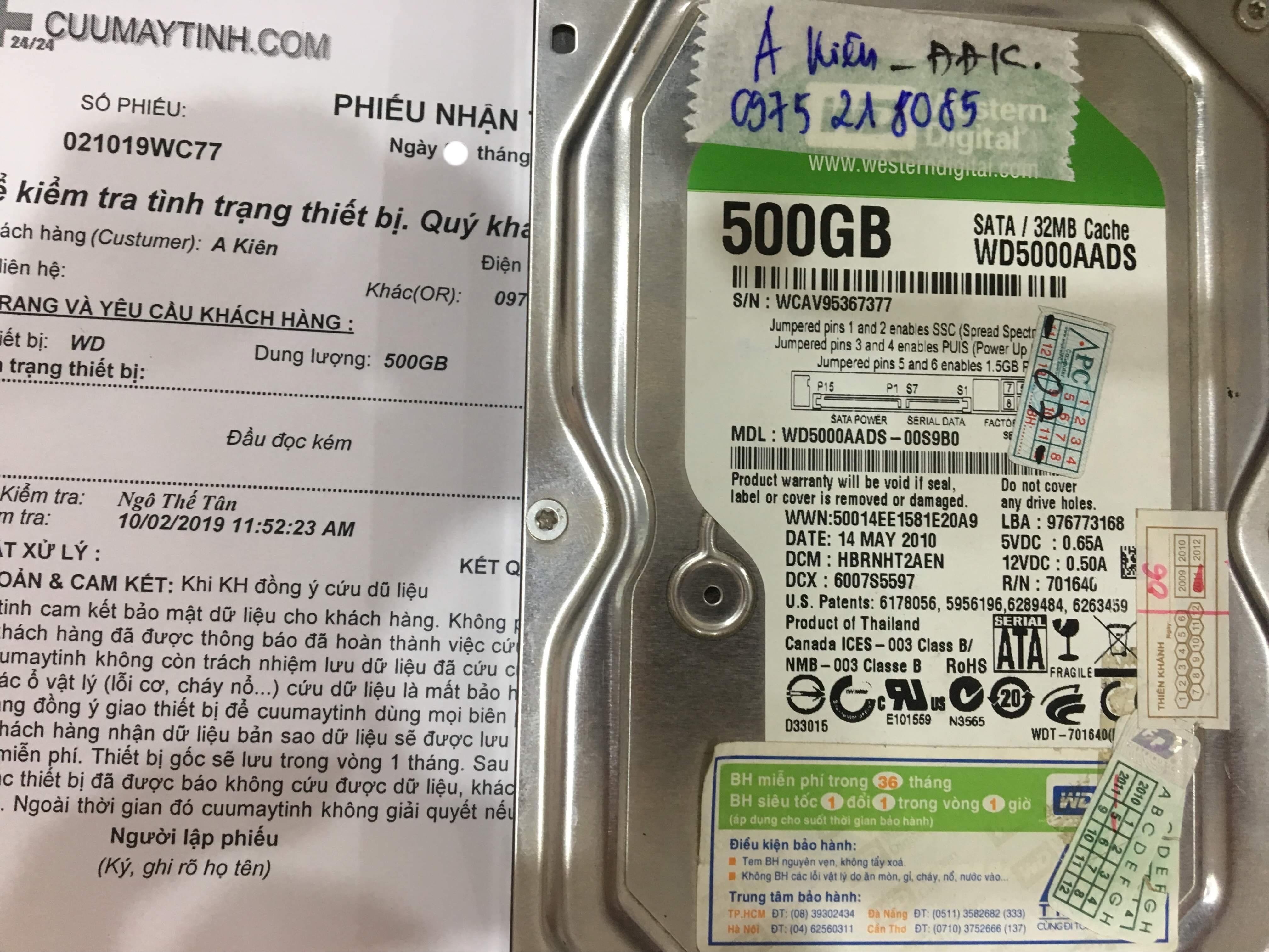Cứu dữ liệu ổ cứng Western 500GB đầu đọc kém 09/10/2019 - cuumaytinh