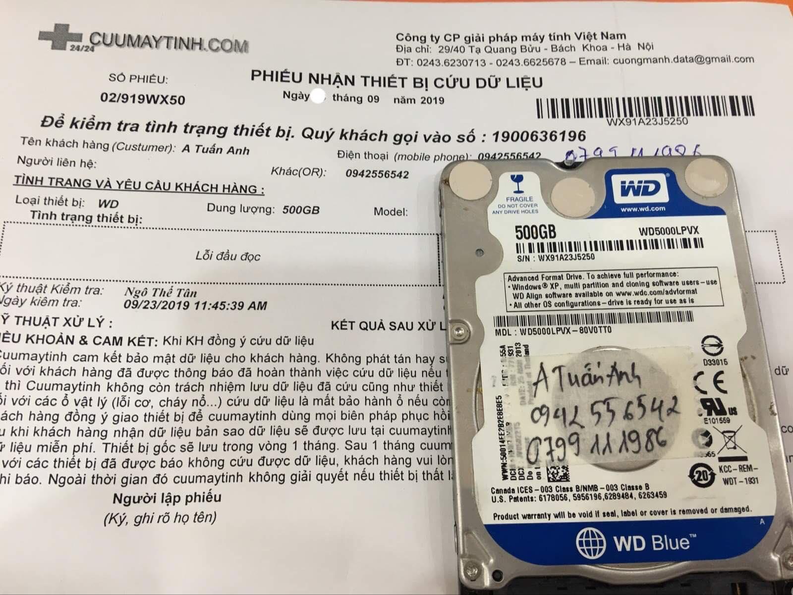 Cứu dữ liệu ổ cứng Western 500GB lỗi đầu đọc 30/09/2019 - cuumaytinh