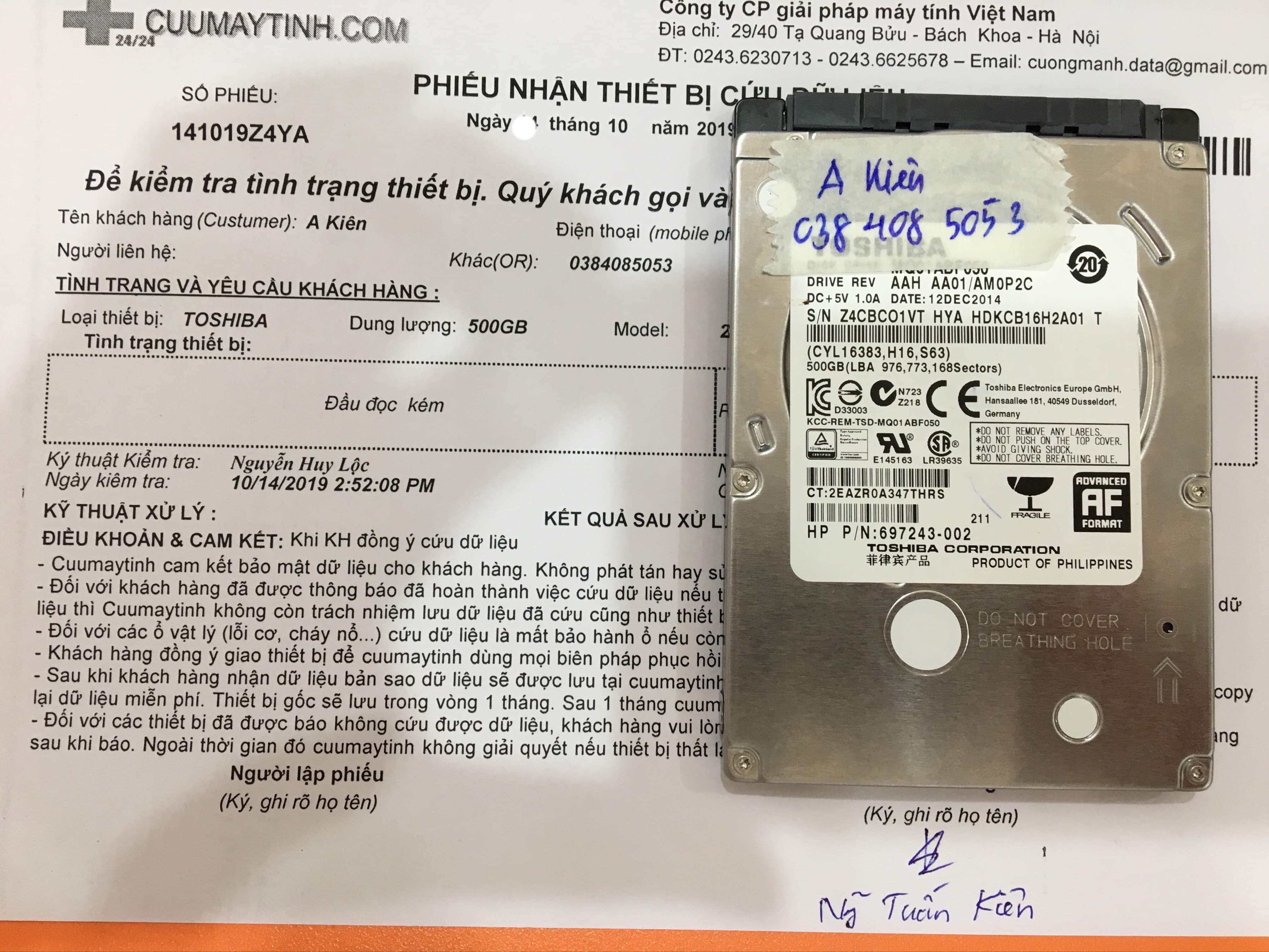 Cứu dữ liệu ổ cứng Toshiba 500GB đầu đọc kém 25/10/2019 - cuumaytinh