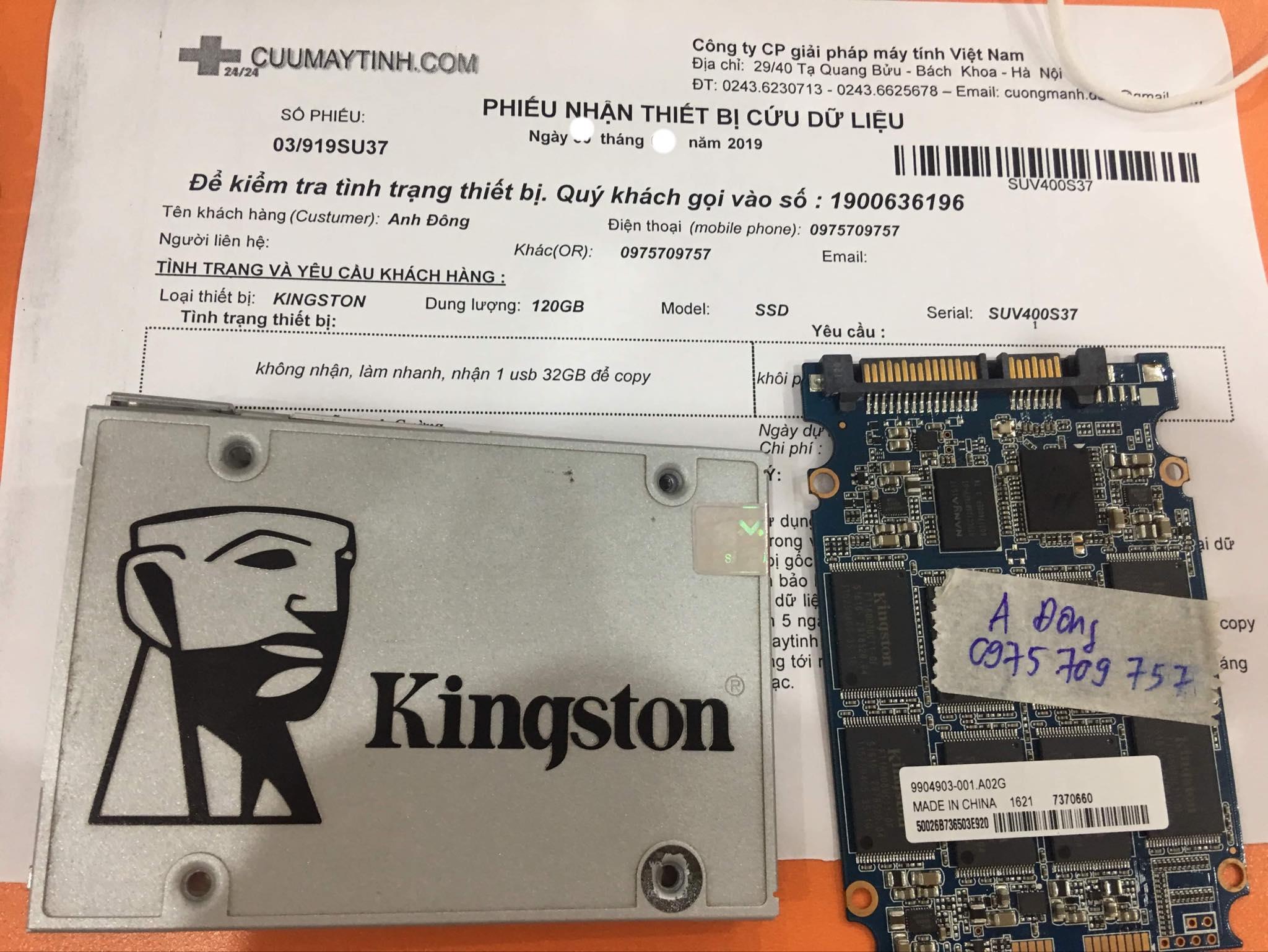Khôi phục dữ liệu ổ cứng SSD Kingston 120GB không nhận 05/10/2019 - cuumaytinh