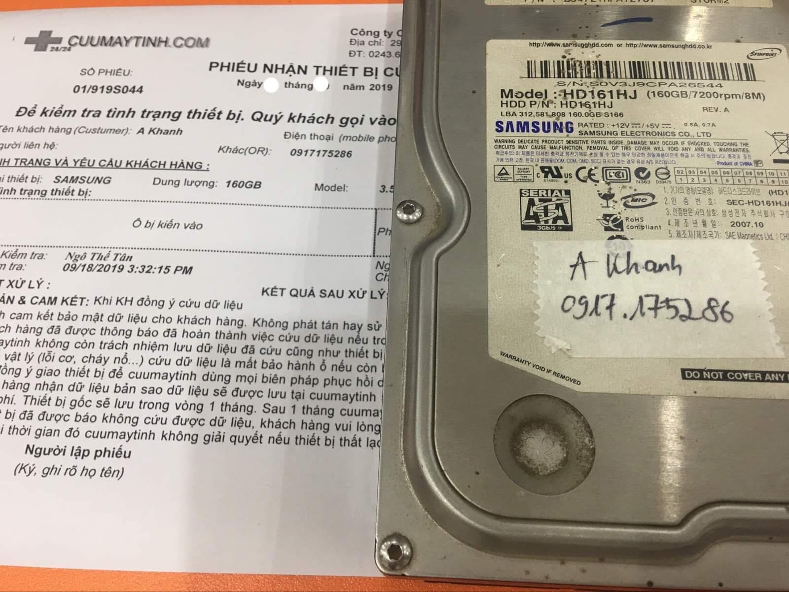 Khôi phục dữ liệu ổ cứng Samsung 160GB kiến vào 01/10/2019 - cuumaytinh
