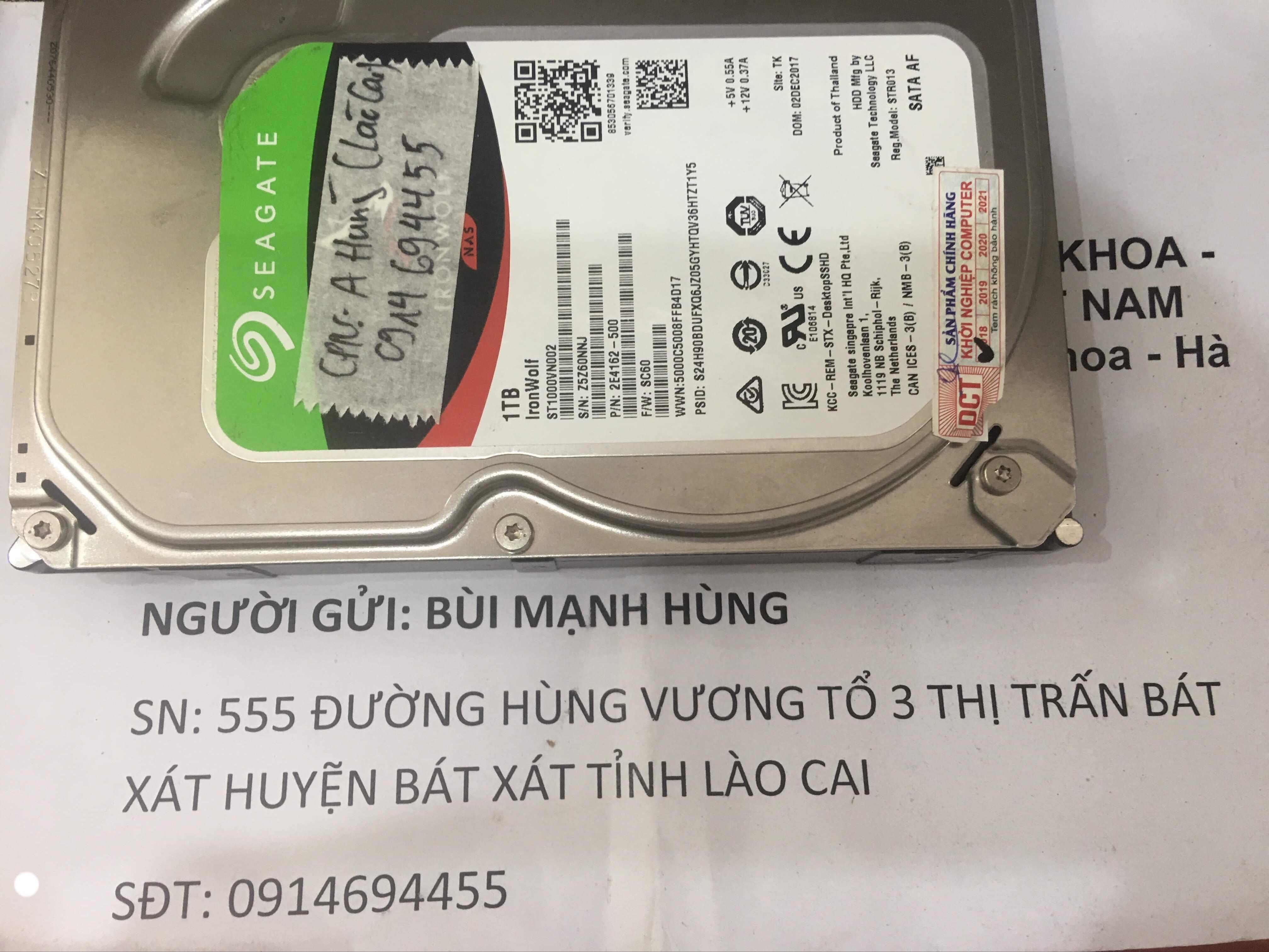 Khôi phục dữ liệu ổ cứng Seagate 1TB lỗi đầu đọc tại Lào Cai 08/10/2019 - cuumaytinh