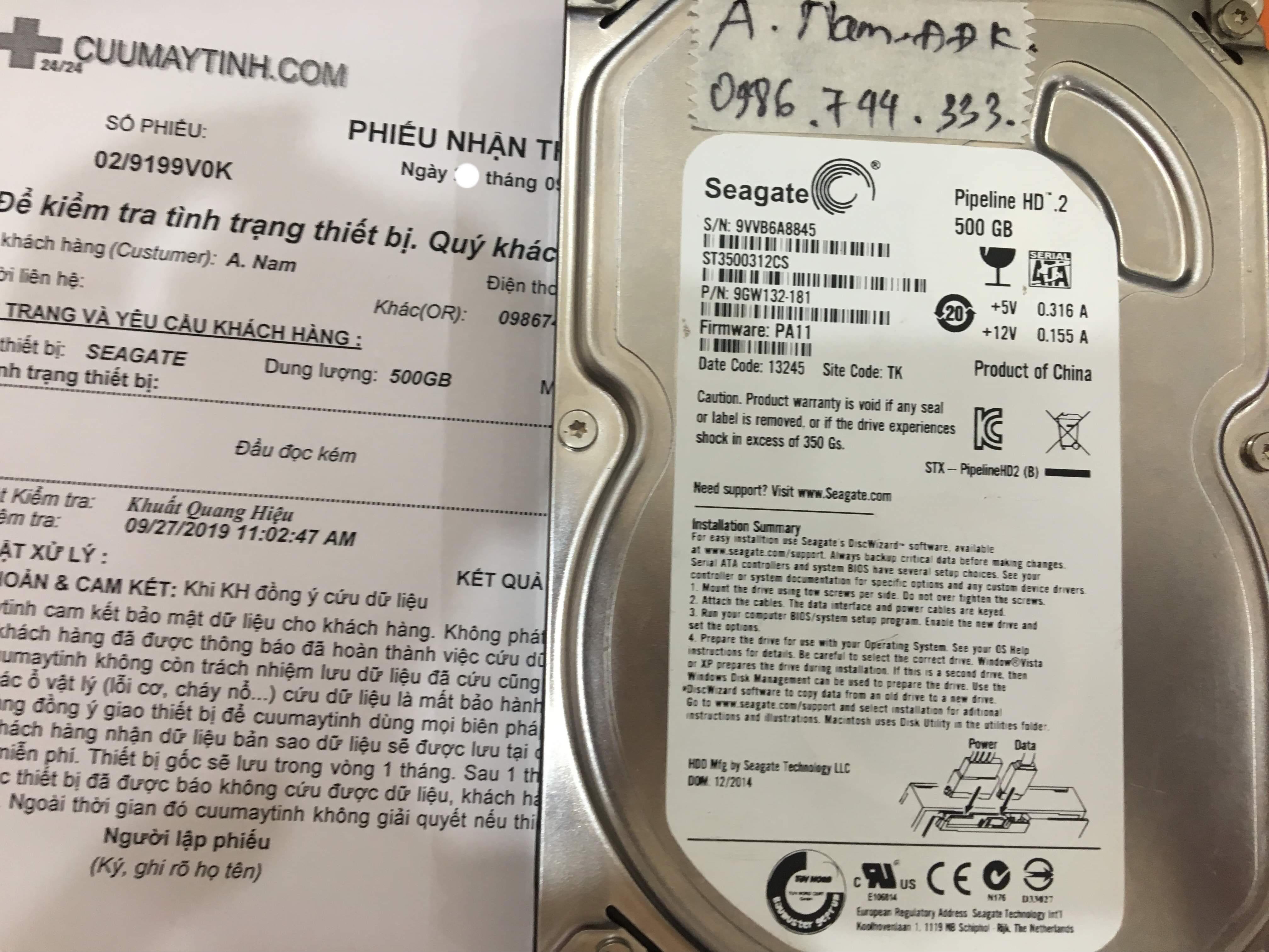 Khôi phục dữ liệu ổ cứng Seagate 500GB đầu đọc kém 03/10/2019 - cuumaytinh
