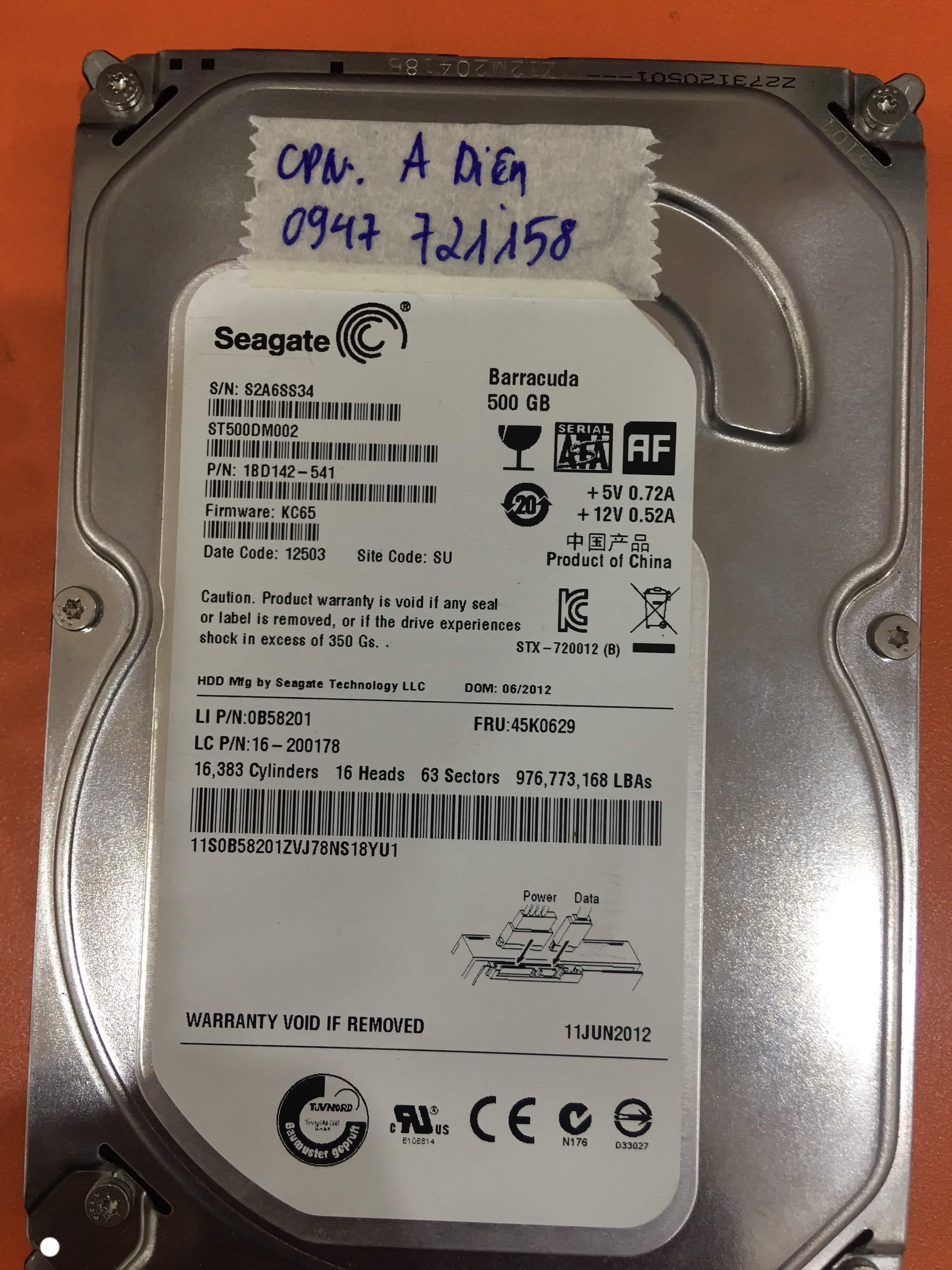 Khôi phục dữ liệu ổ cứng Seagate 500GB đầu đọc kém tại Hà Tĩnh 22/10/2019 - cuumaytinh