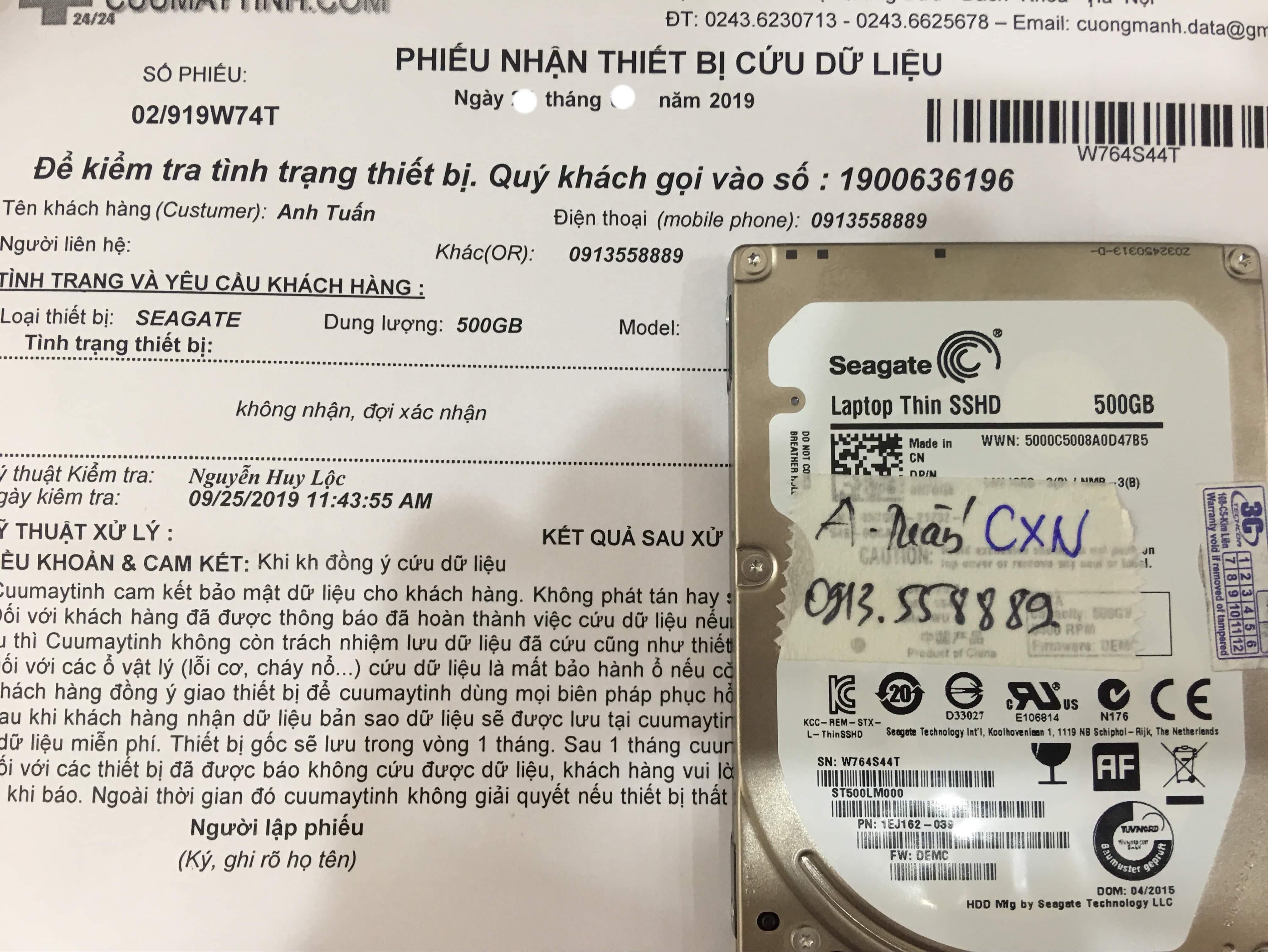 Khôi phục dữ liệu ổ cứng Seagate 500GB không nhận 04/10/2019 - cuumaytinh