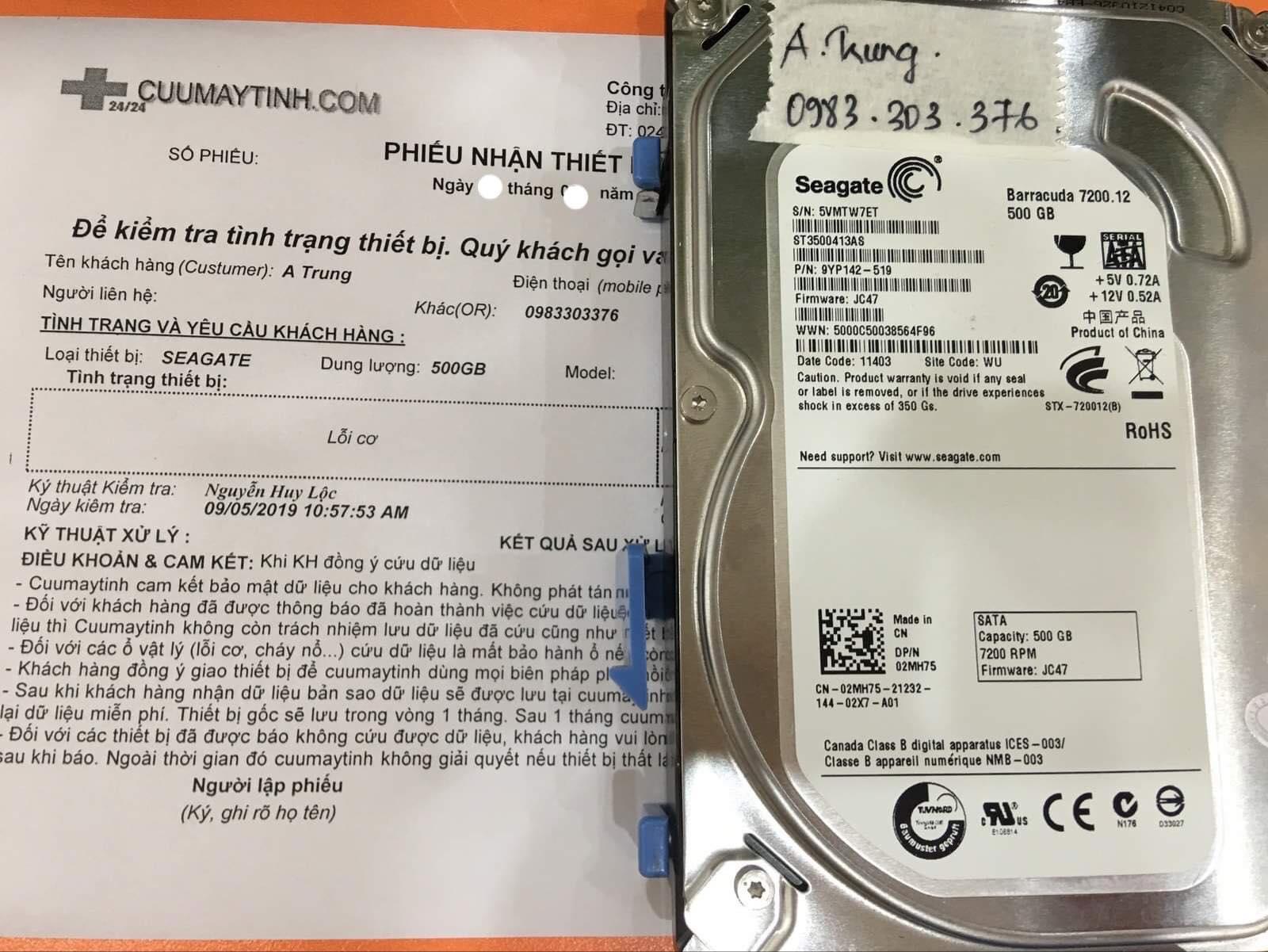 Khôi phục dữ liệu ổ cứng Seagate 500GB lỗi cơ 28/10/2019 - cuumaytinh