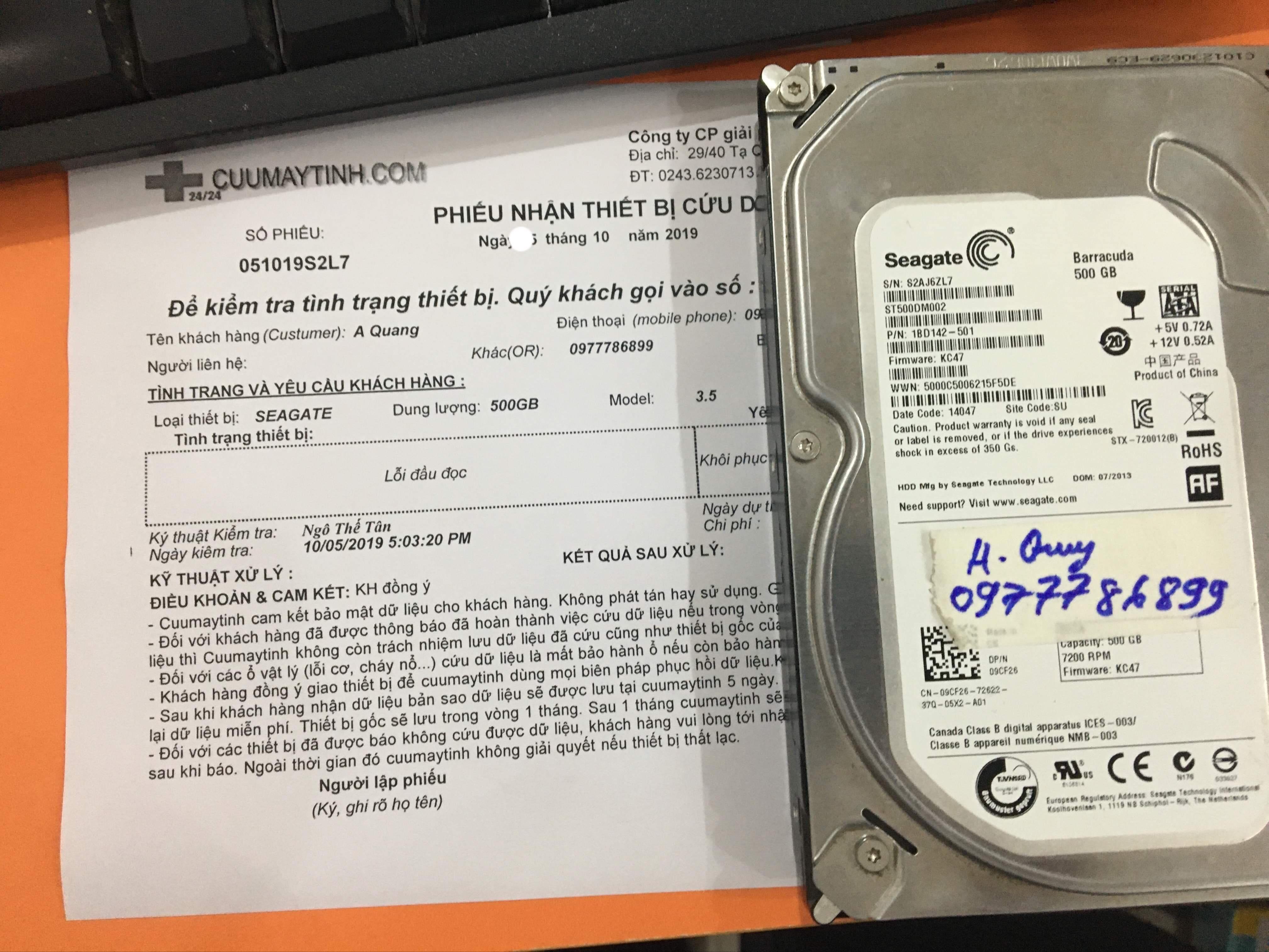 Khôi phục dữ liệu ổ cứng Seagate 500GB lỗi đầu đọc 15/10/2019 - cuumaytinh