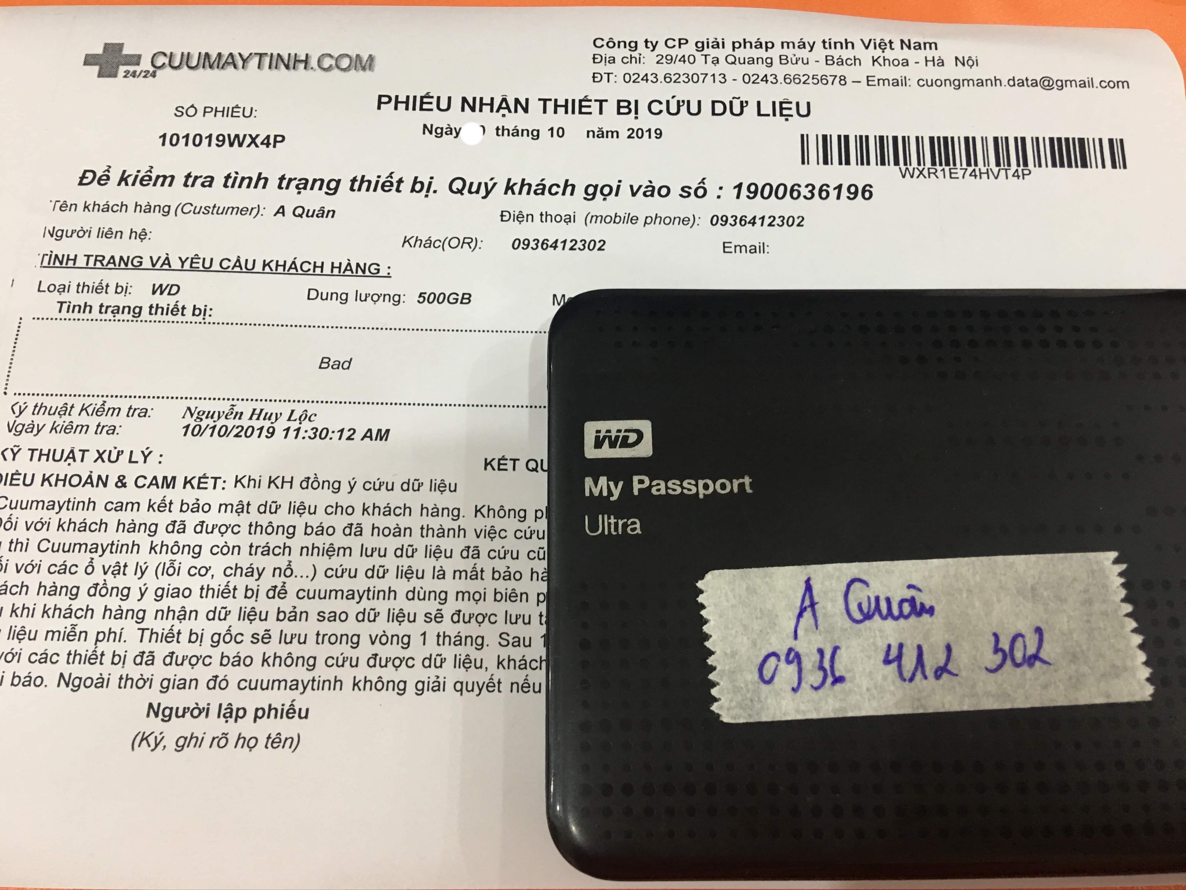 Khôi phục dữ liệu ổ cứng Western 1TB bad 18/10/2019 - cuumaytinh