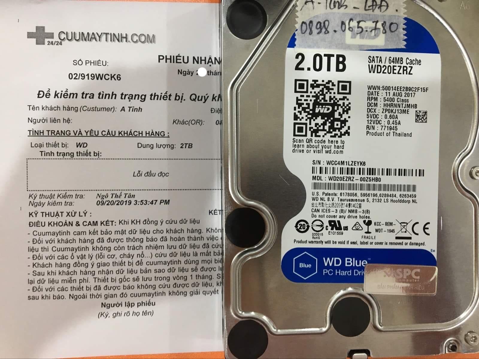 Khôi phục dữ liệu ổ cứng Western 2TB không nhận 30/09/2019 - cuumaytinh
