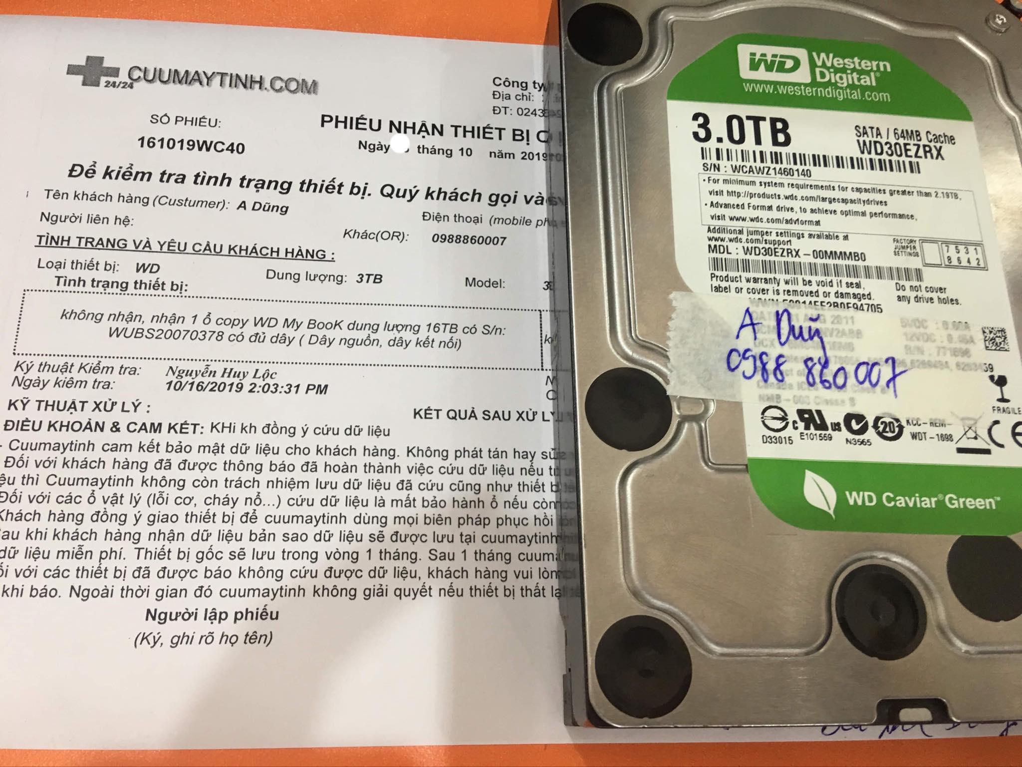 Khôi phục dữ liệu ổ cứng Western 3TB không nhận 29/10/2019 - cuumaytinh