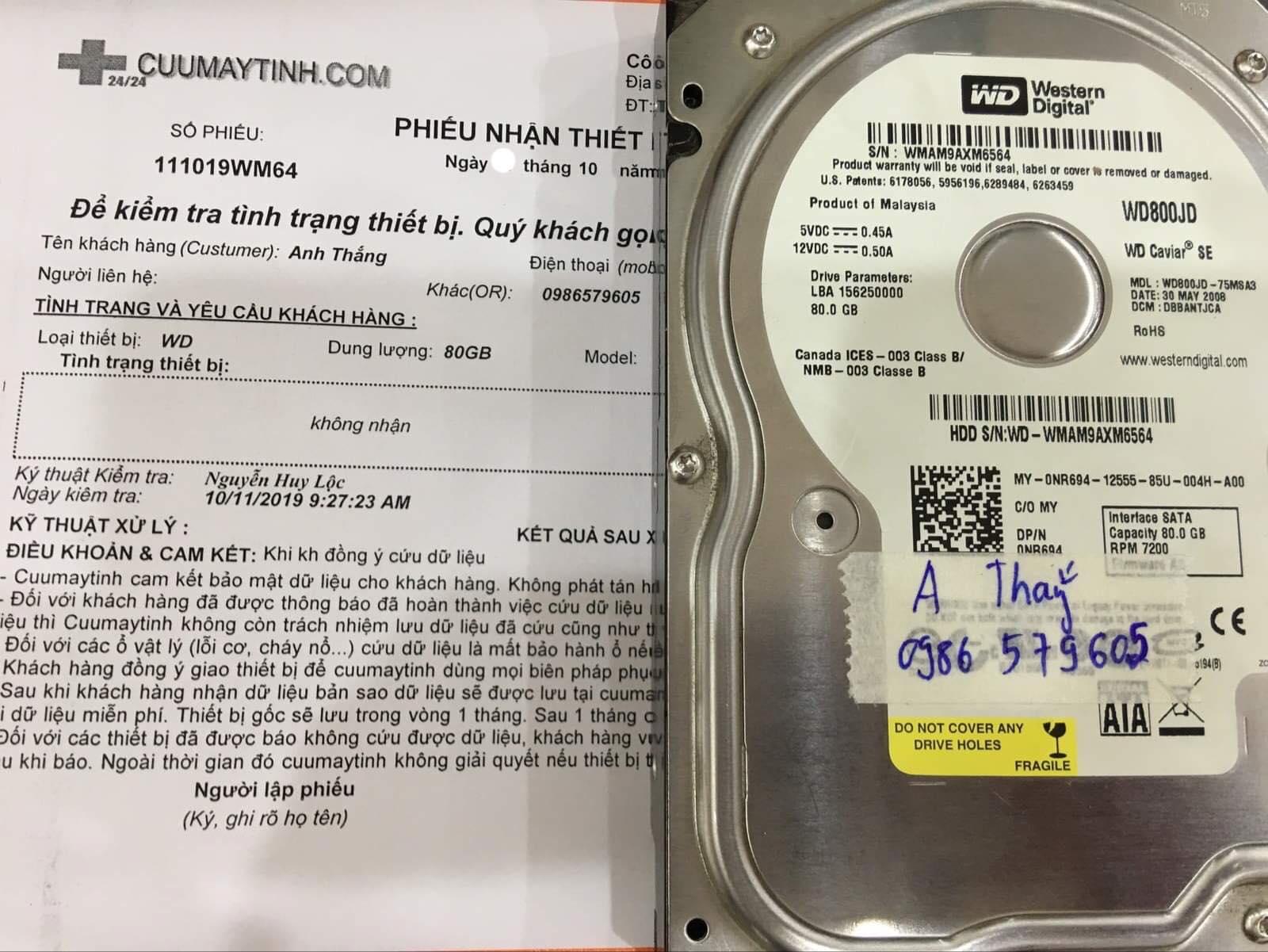 Khôi phục dữ liệu ổ cứng Western 80GB không nhận 12/10/2019 - cuumaytinh